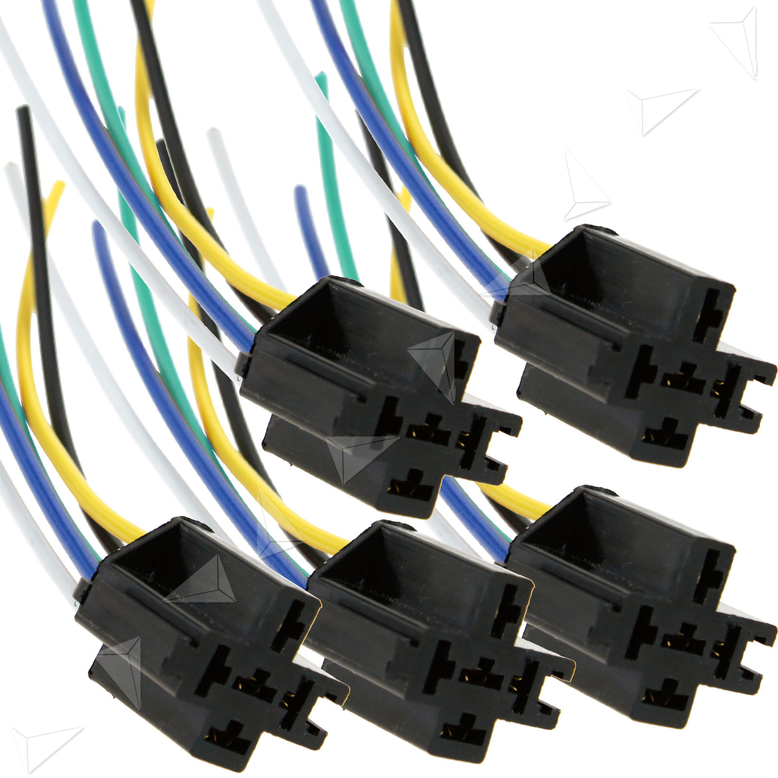 5 pcs pre wired 5 pin relay mounting base harness socket holder 12v 40a ebay