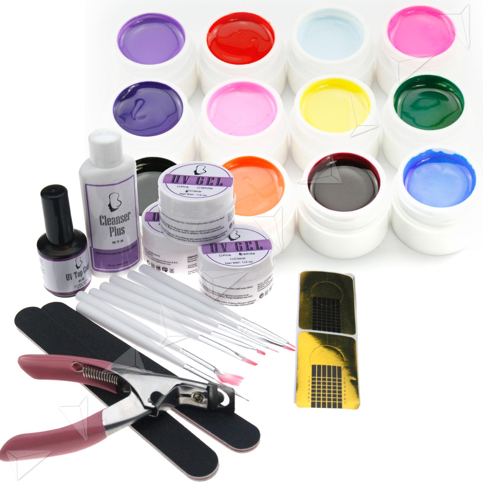 Nail Art Starter Kit: PRO Nail Art UV Gel Starter Kit + 12 Color 5ml Pure Solid