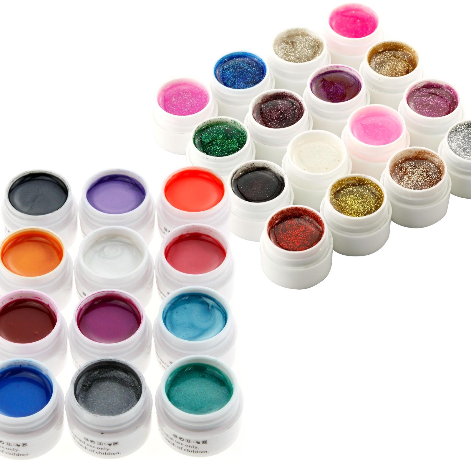 28 pots nail art uv builder uv gel glitter pearl color diy design gel set ebay. Black Bedroom Furniture Sets. Home Design Ideas