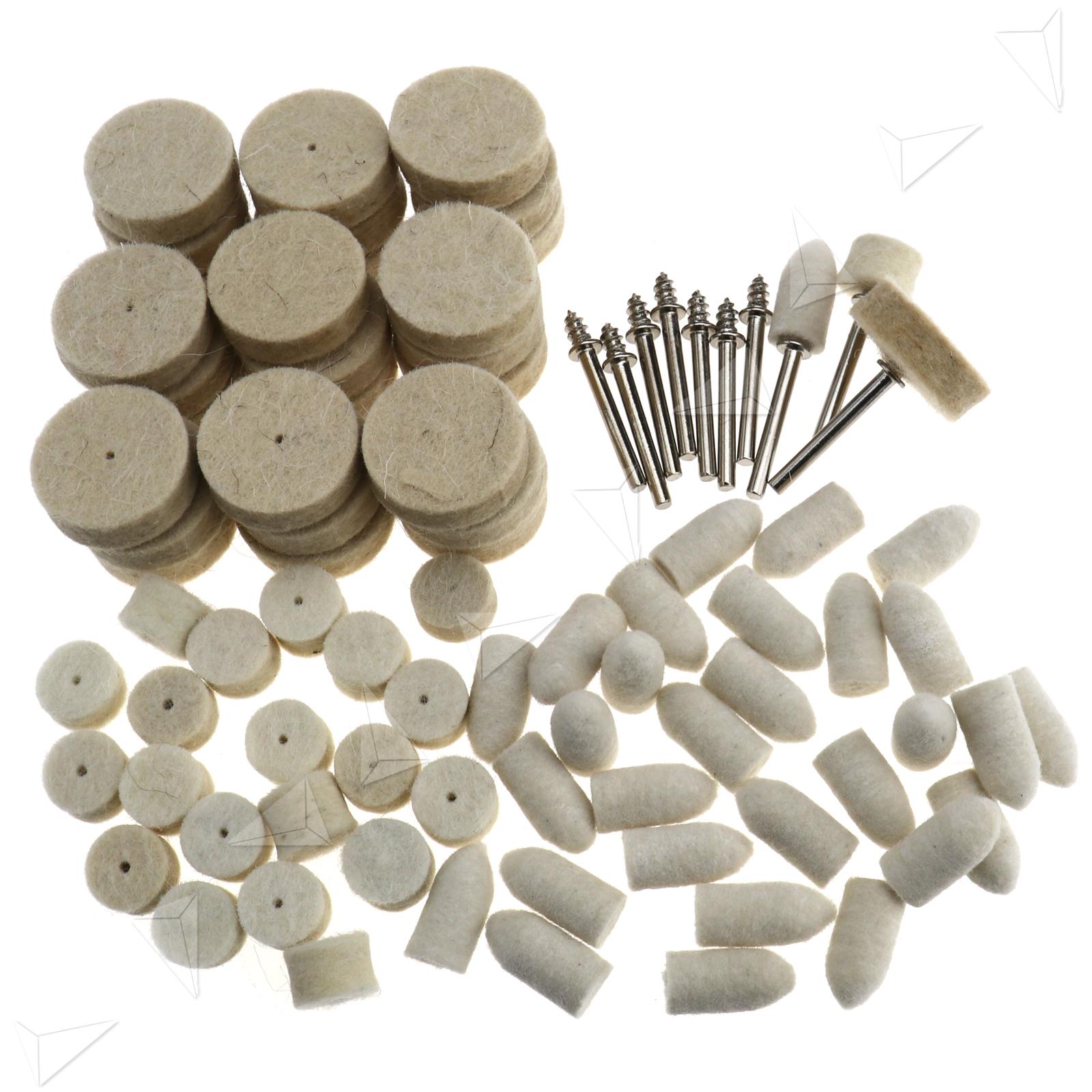 1x Sponge Cone Metal Polishing Foam Pad Wool Buffing: Set Felt Polishing Pad Buff Clean Wheels + Point Mandrel
