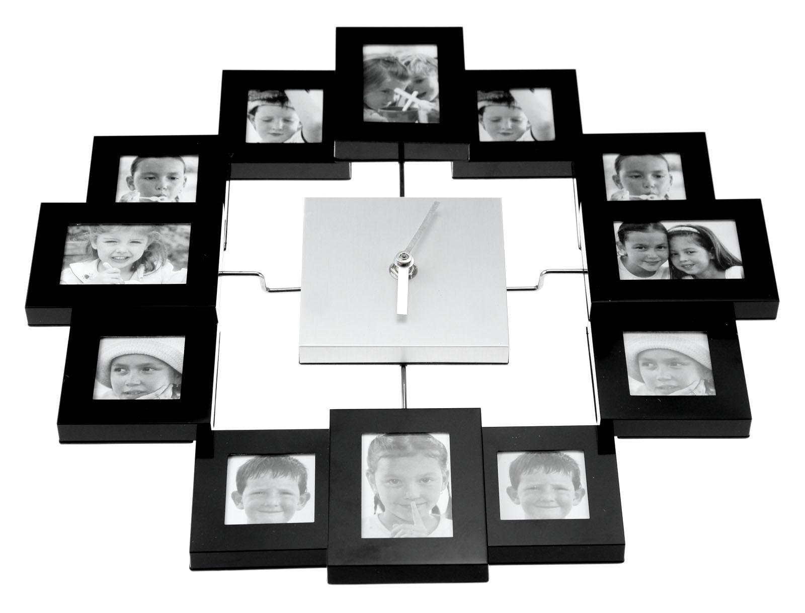 Black Modern Design Family Living Room Multi Photo Frame Timer