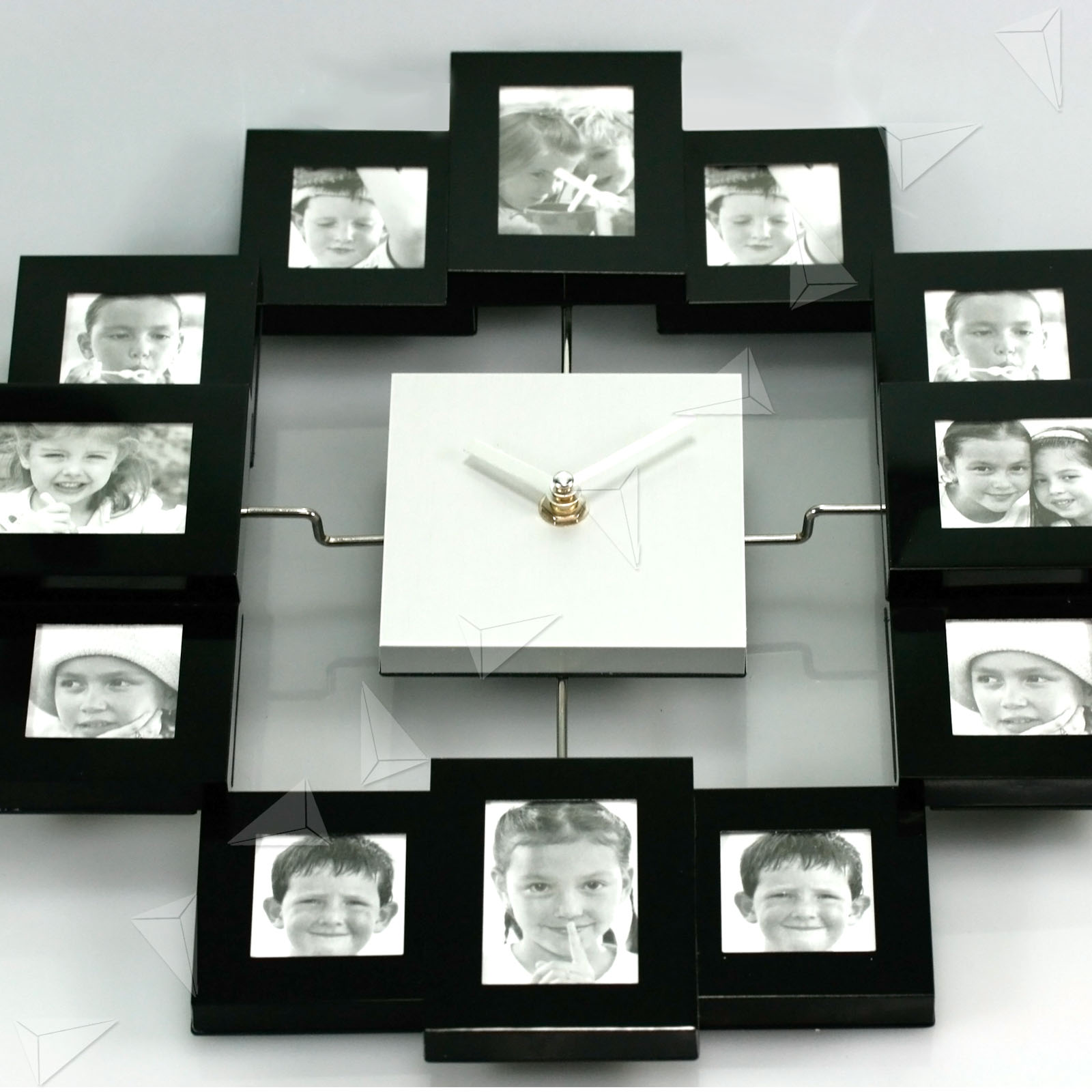 arranging your favorite photos of your family and friends around it have a different photo on every hour the aluminum photo frame clock is a great way