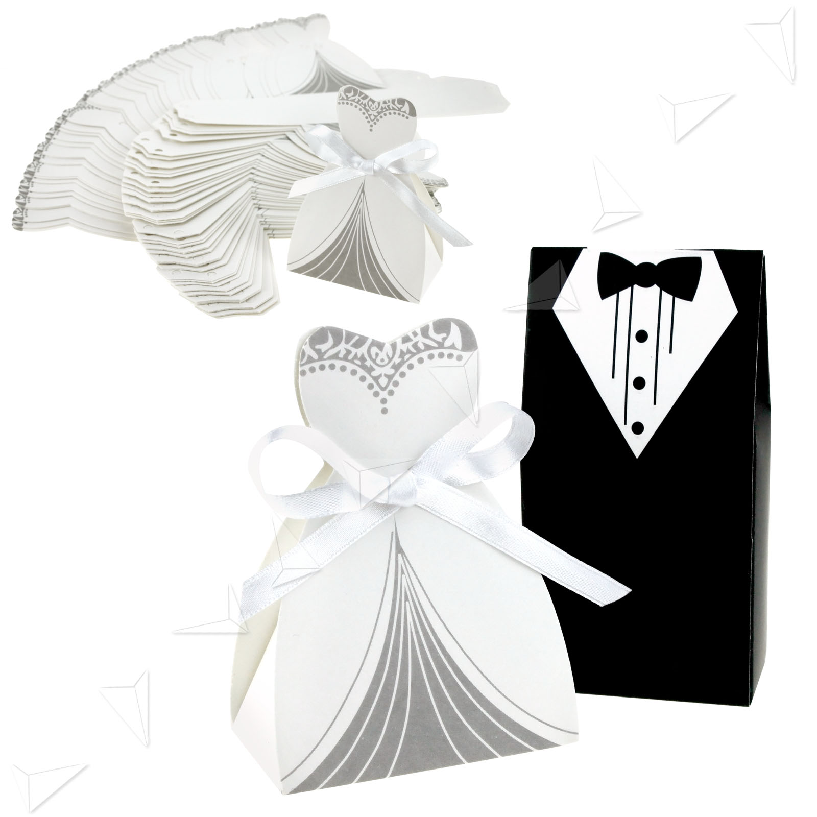 100/200 Lovely Wedding Party Favor Bride Groom Dress Design Candy ...