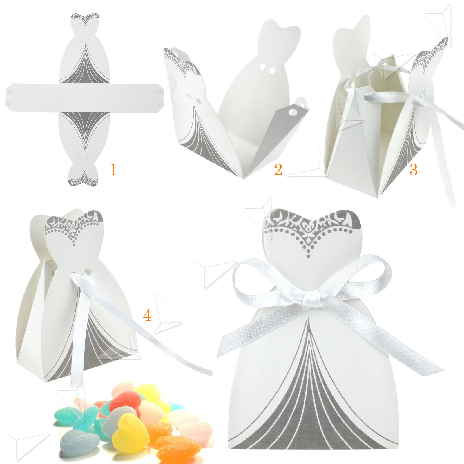 100 pairs wedding bomboniere cake candy favour boxes dress for Acid free cardboard box for wedding dress