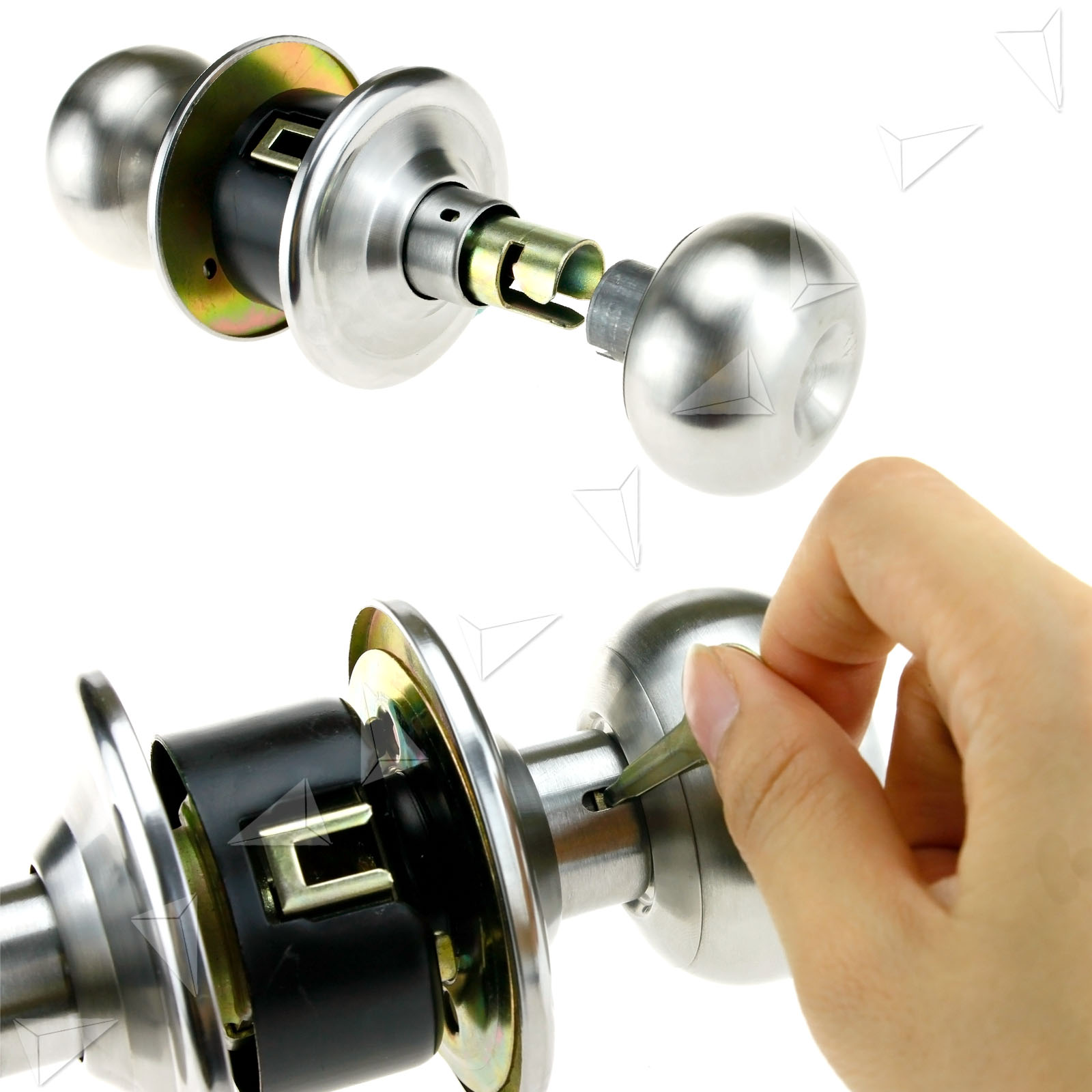 Passage brushed satin nickel round handle knobs door locks - Bedroom door knobs with key lock ...