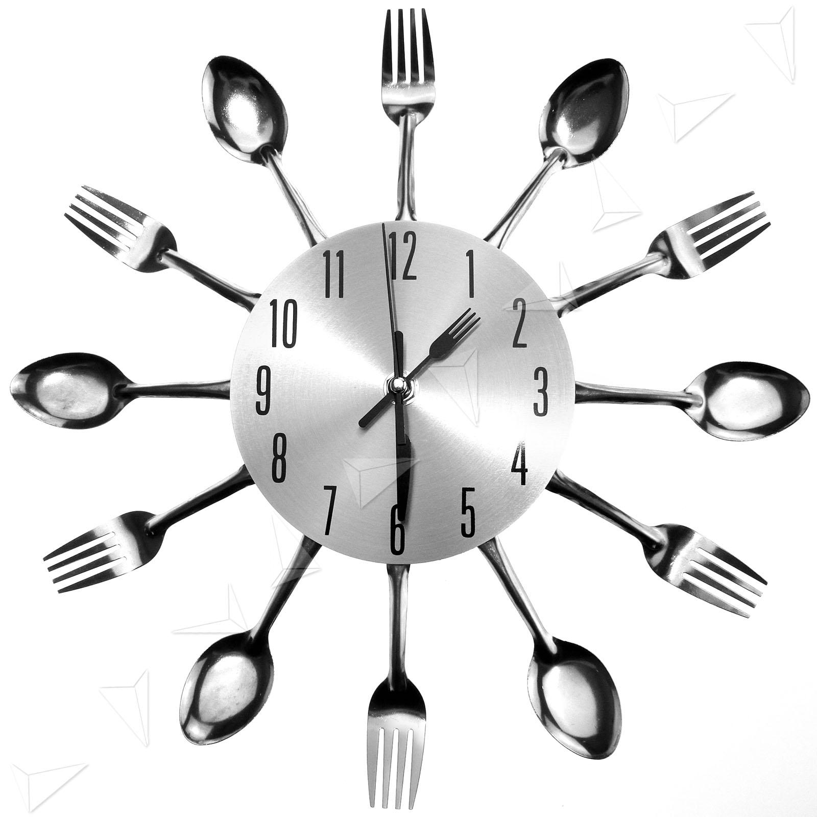 Uniquebella Metal Kitchen Cutlery Utensil Wall Clock Spoon: Modern Design Sliver Cutlery Kitchen Utensil Wall Clock