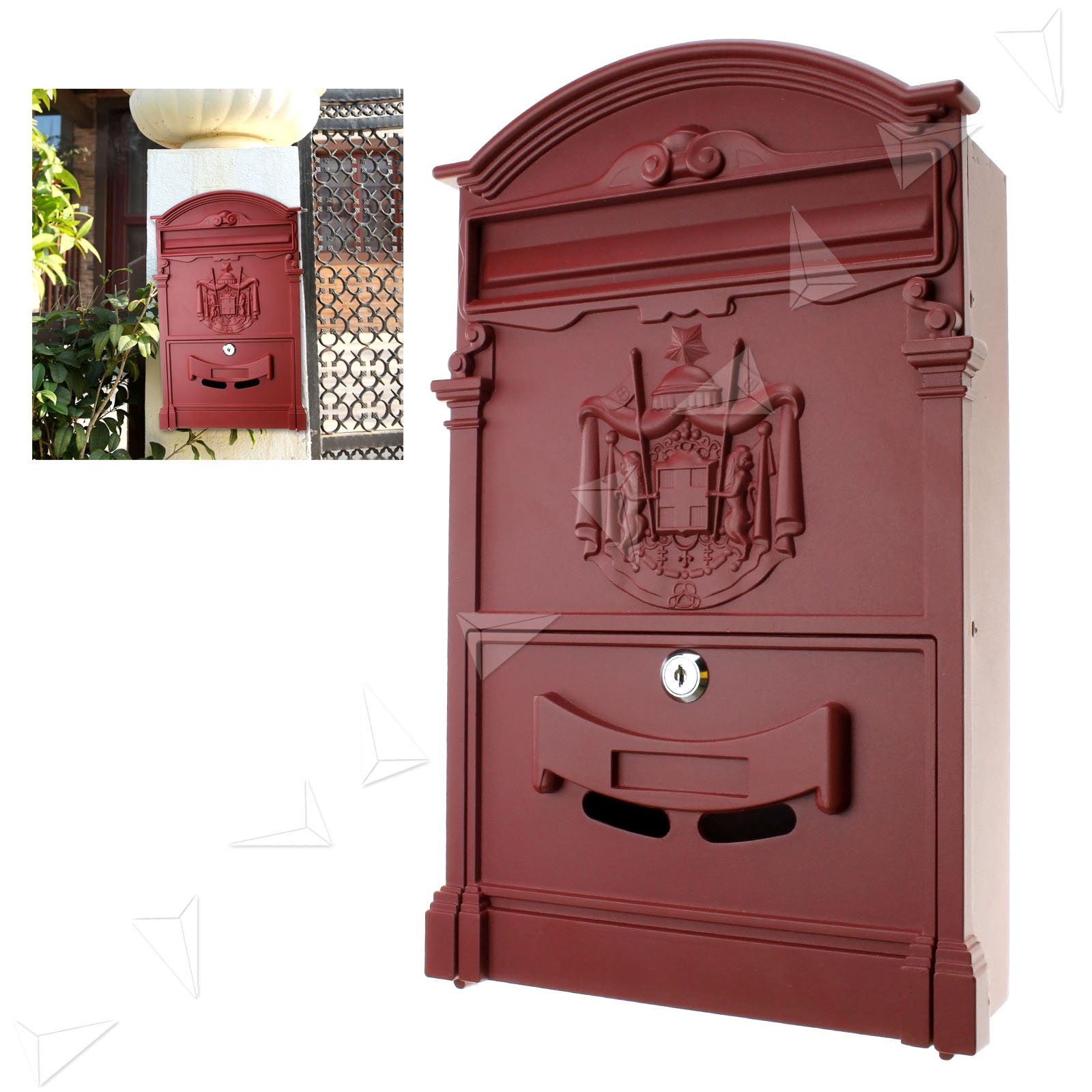 Aluminium Mail Box : Red letterbox mailbox letter mail post box wall mount cast