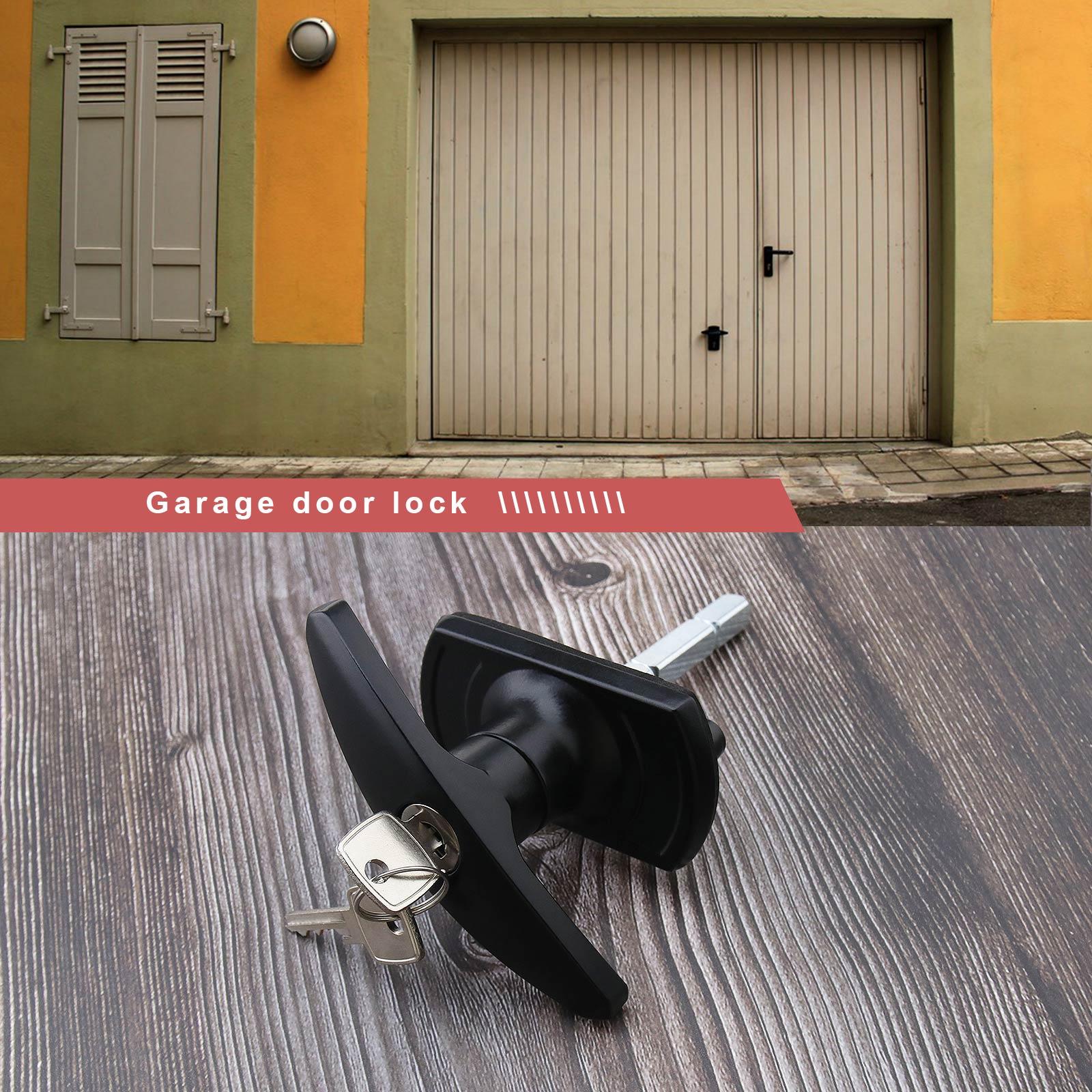 T Handle Black Garage Door Lock 18 35mm Fixing Spigots