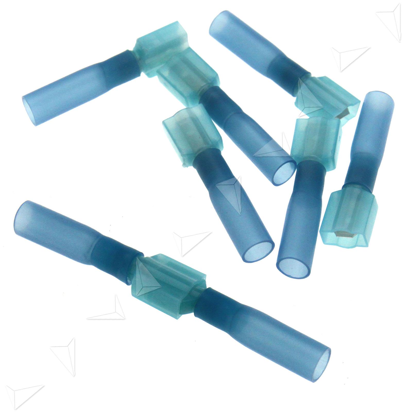 50pcs blue male female spade heatshrink terminal connector crimp ebay. Black Bedroom Furniture Sets. Home Design Ideas