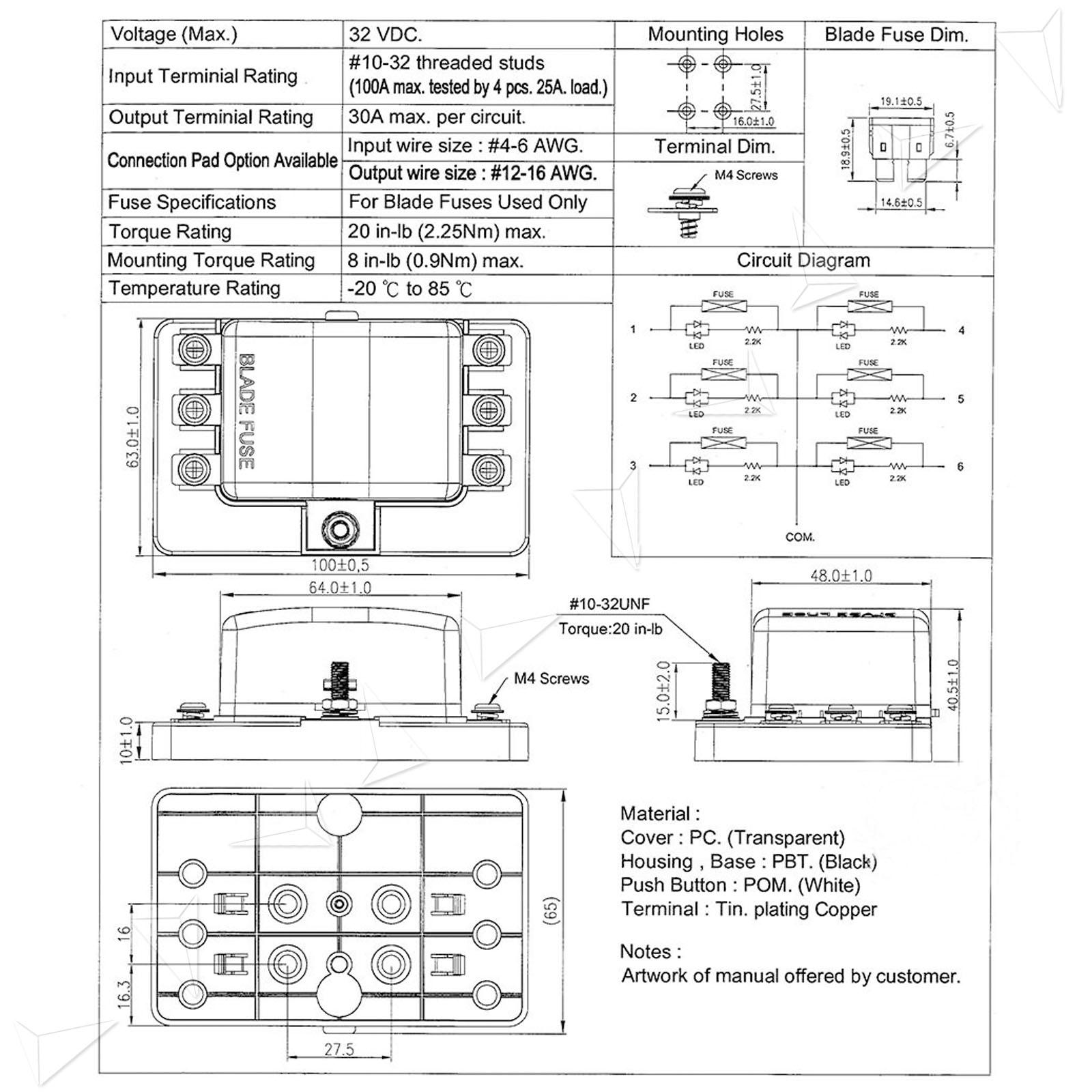 12 24v 6 ways standard blade fuse box holder for. Black Bedroom Furniture Sets. Home Design Ideas