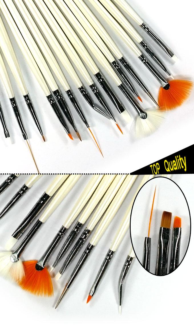 New nail art brush set white 15pcs nail extensions tips for Avon nail decoration brush