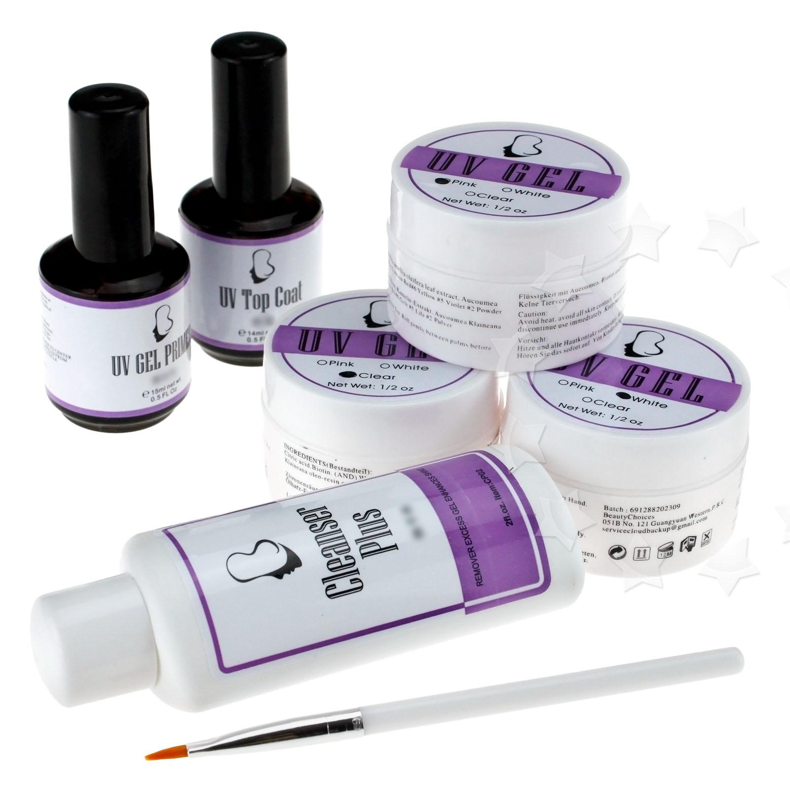 full uv gel nail set top coat cleanser plus brush base kit ebay. Black Bedroom Furniture Sets. Home Design Ideas
