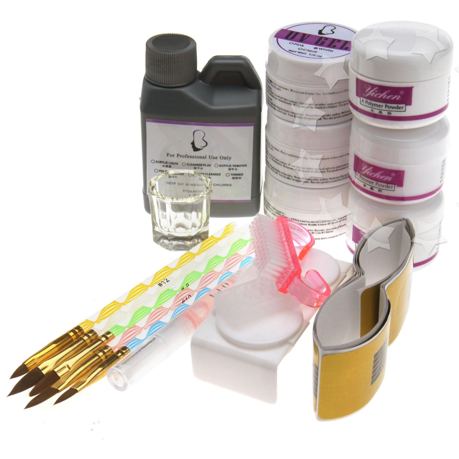 Brush On Nail Gel: Acrylic UV Gel Nail Art Kit With UV Gel Acrylic Powder