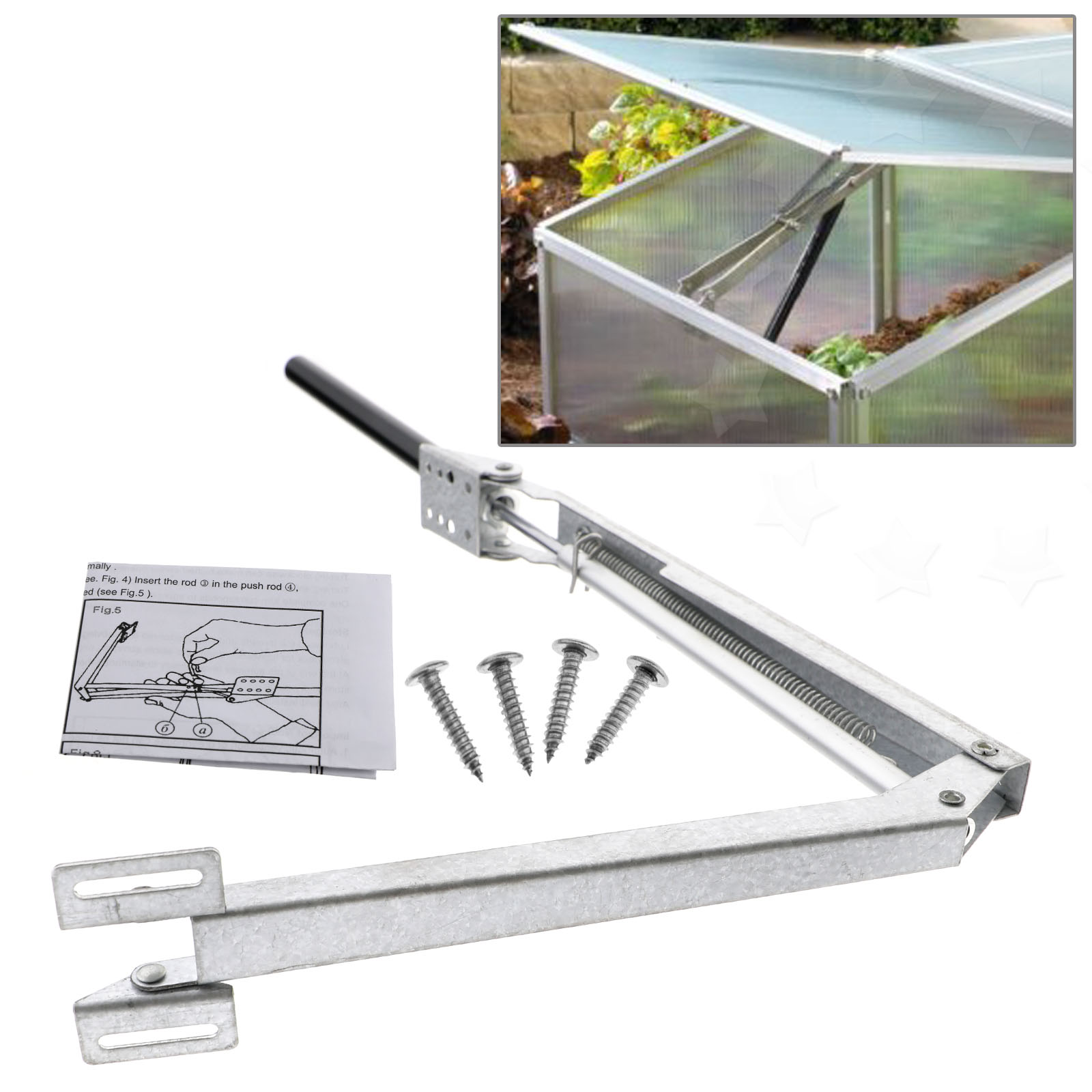 Automatic greenhouse window vent opener top set kit ebay for Window vent kit