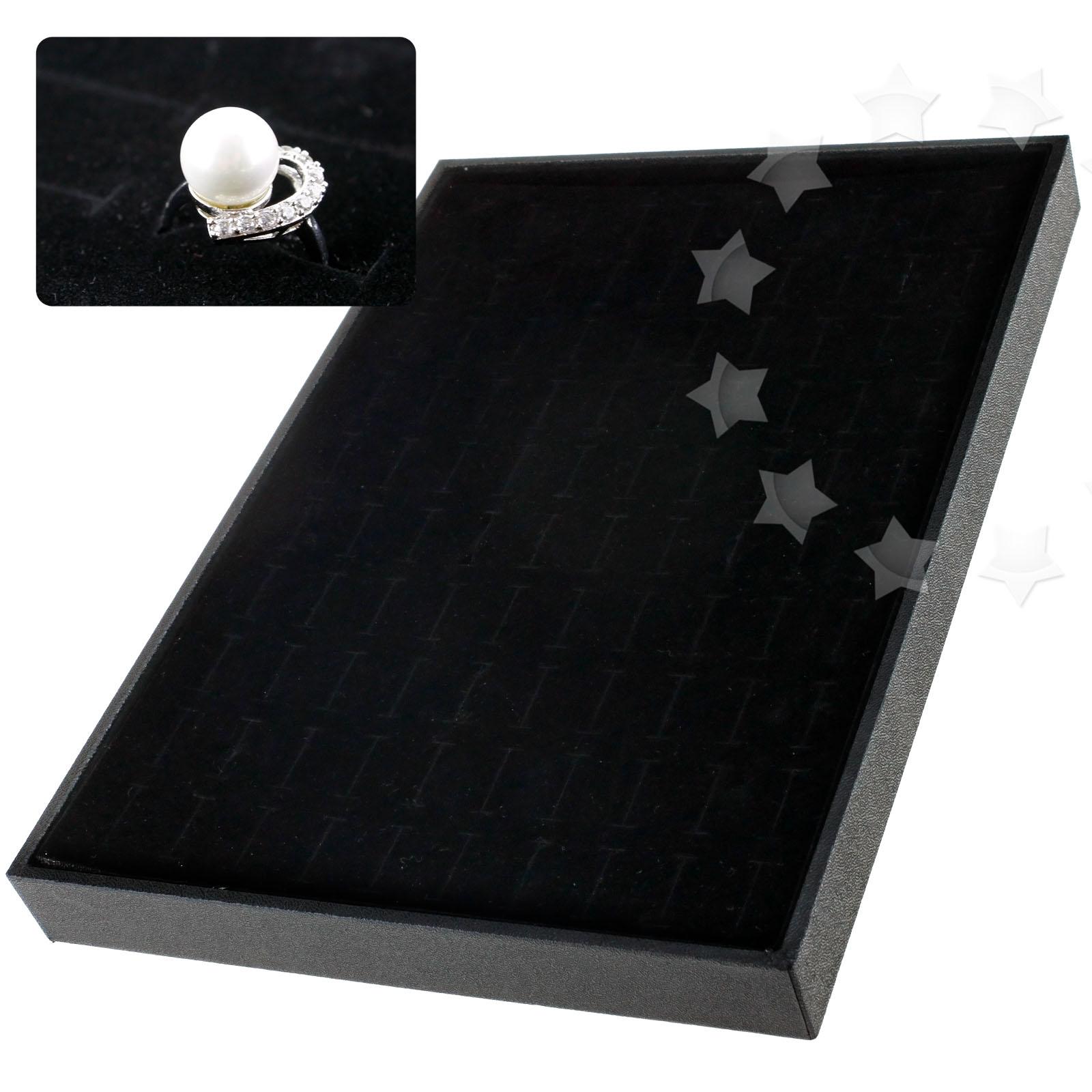 100 slots velvet jewelry rings earrings display tray case for Velvet jewelry organizer trays