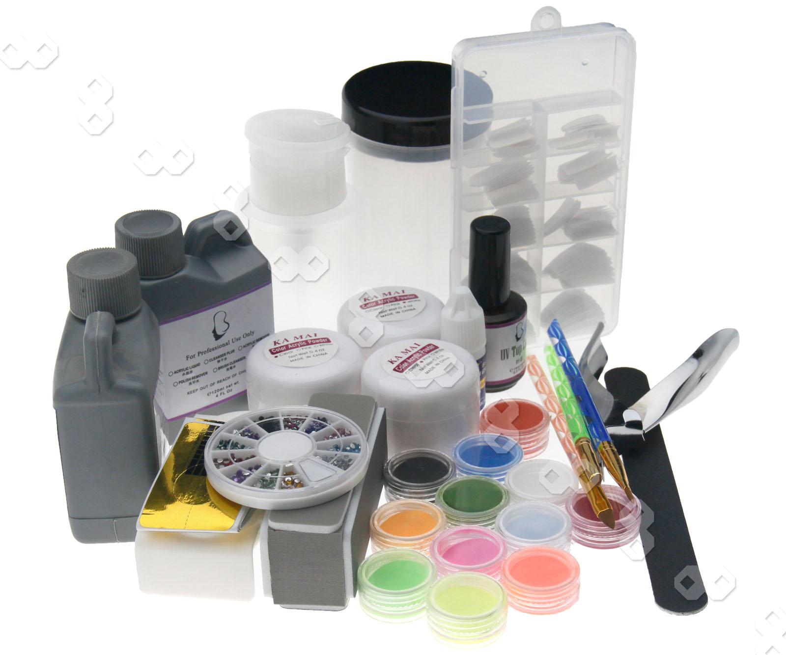 Pro Acrylic Nail Art Color Powder Set W False Nail Tips Full Kit S317 Uk Ebay