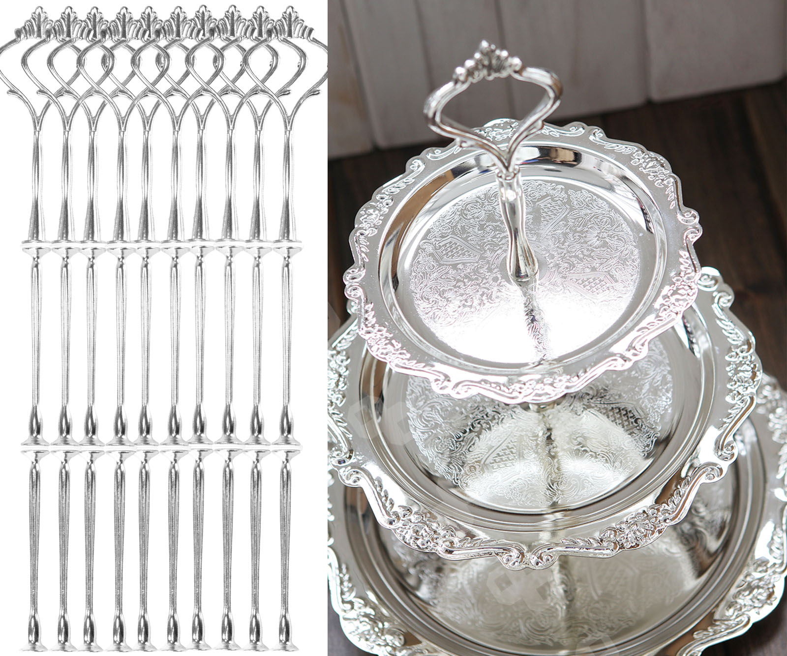 Clearance 10 Set 3 Tier Silver Wedding Cake Plate Stand Center Handle Fitting