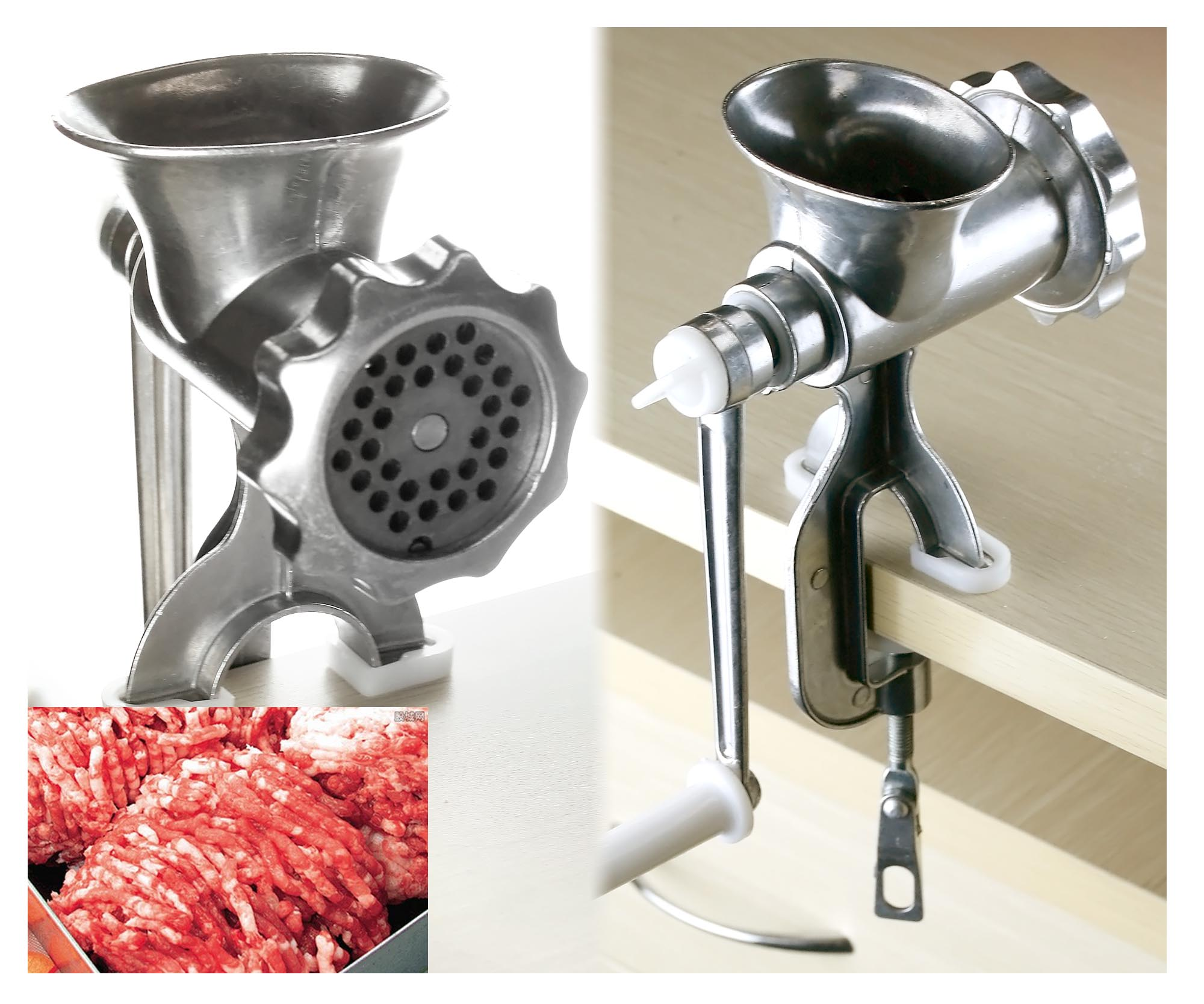 Promotion aluminum hand meat mincer manual grinder mince for Alpine cuisine meat grinder