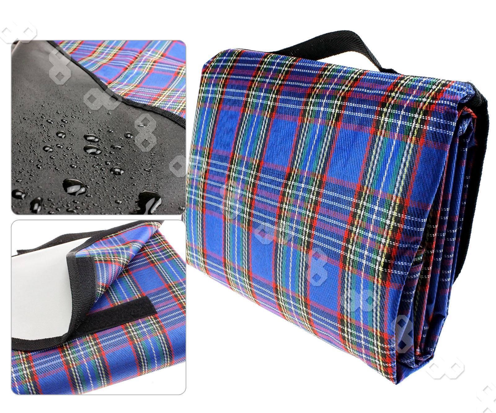 "Picnic Blanket: Blue 57x76"" Waterproof Picnic Blanket Rug Travel Camping"