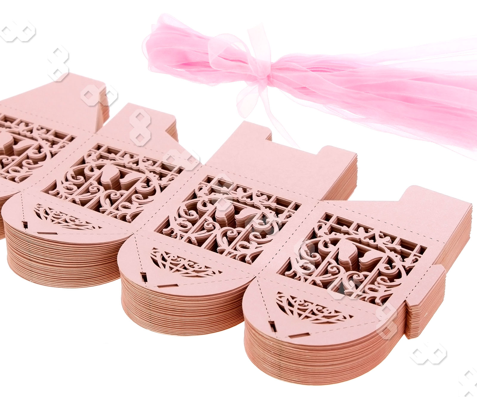 Wedding Gift Boxes Australia : ... 50 Pink Love Bird Ribbon Wedding Favors Party Sweets Candy Gift Box