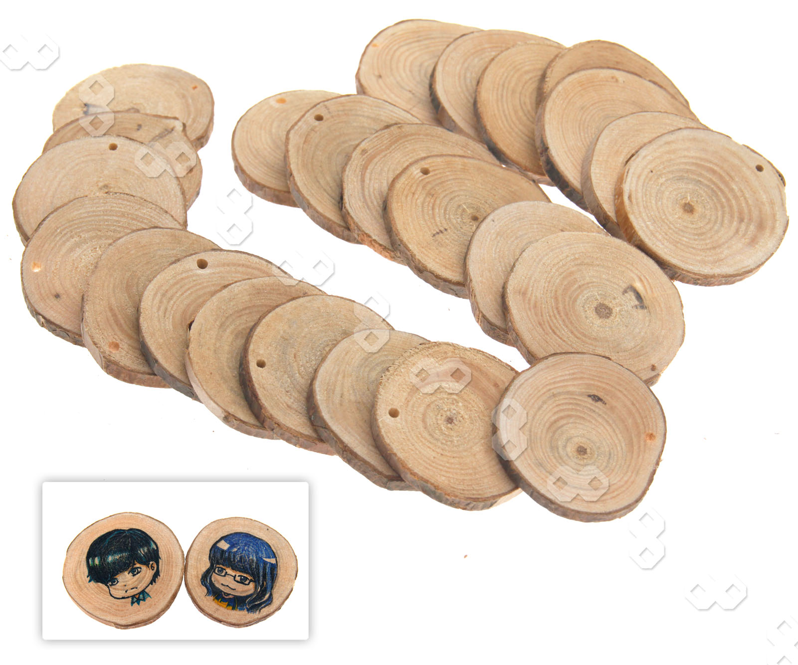 24pcs round natural wood discs slices with hole for diy for Wood circles for crafts