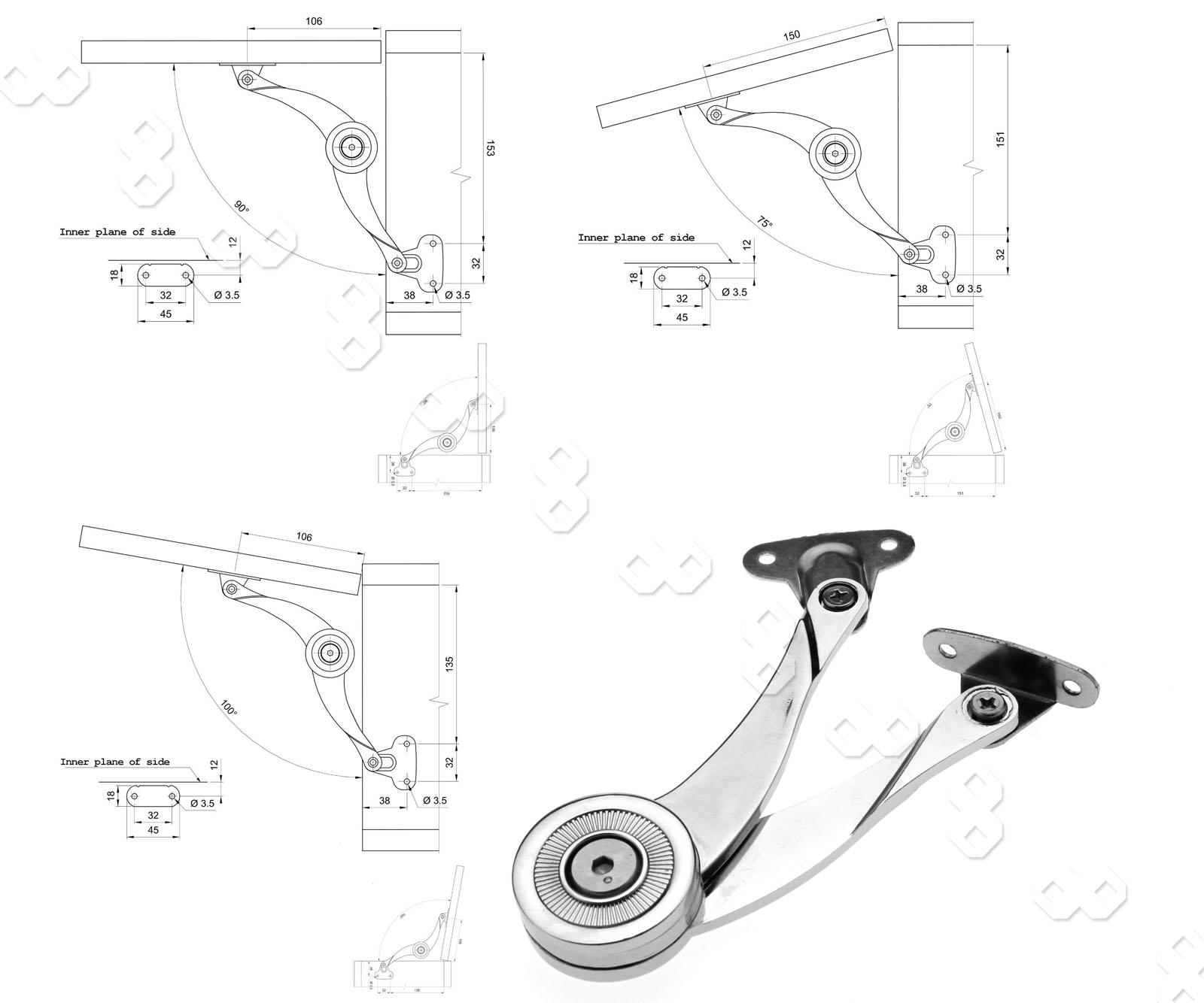 2pcs mechanical friction brake arm lift up lid  door stay