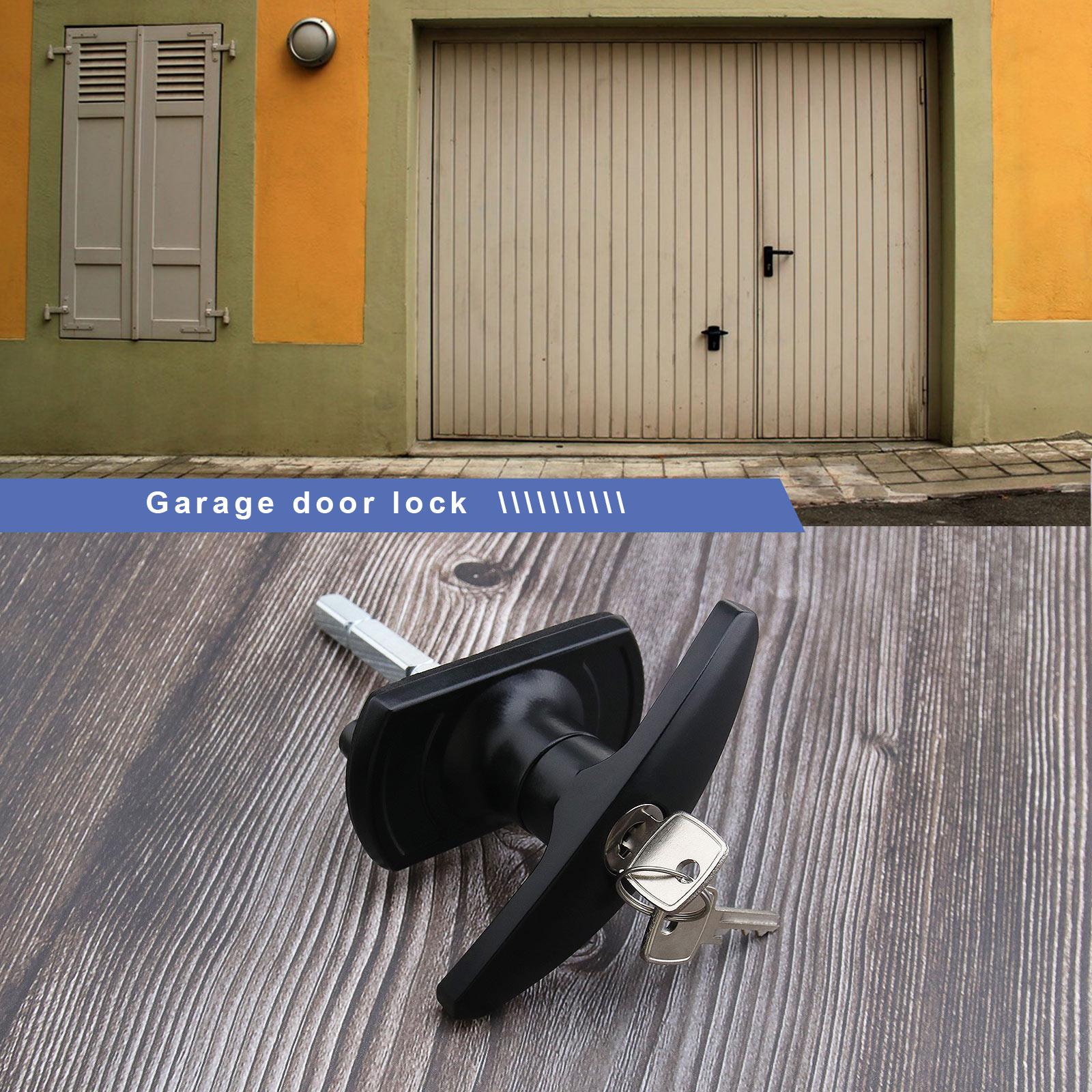 Black T Handle Garage Door Lock 18 35mm Fixing Spigots