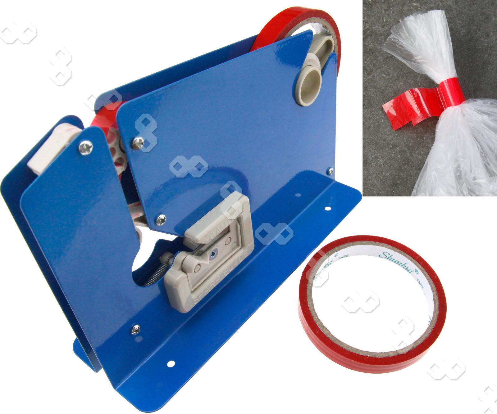 Plastic bag tape sealer - Supermarket Metal Trimming Blade Plastic Bag Neck Sealer 2 Rolls Tape