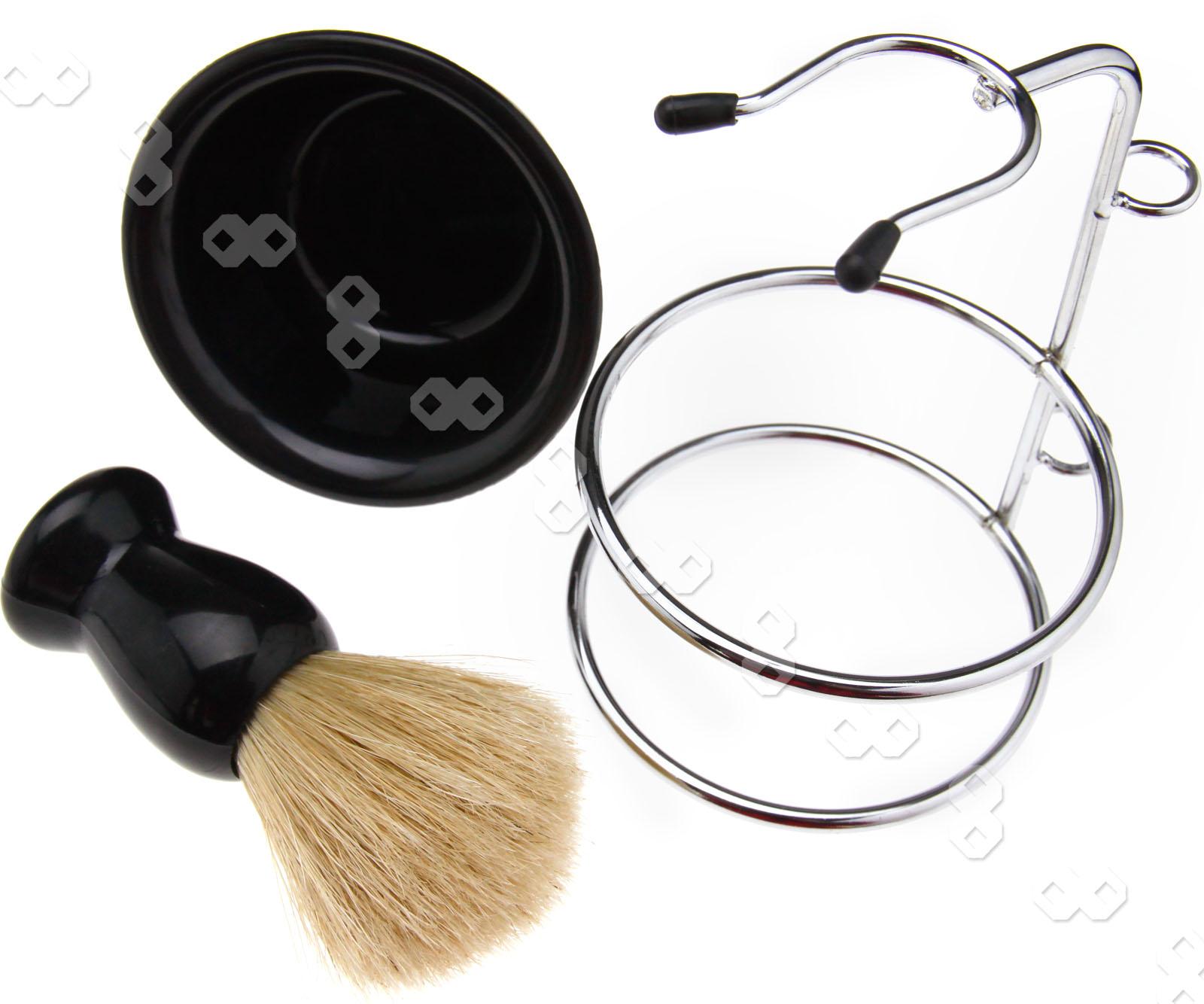 men shaving razor beard clean kit brush soap bowl stand razor blades 4 in 1 ebay. Black Bedroom Furniture Sets. Home Design Ideas
