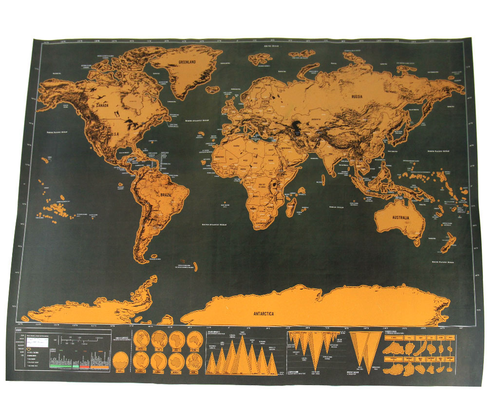 deluxe scratch off world map poster personalized travel vacation personal gift ebay. Black Bedroom Furniture Sets. Home Design Ideas