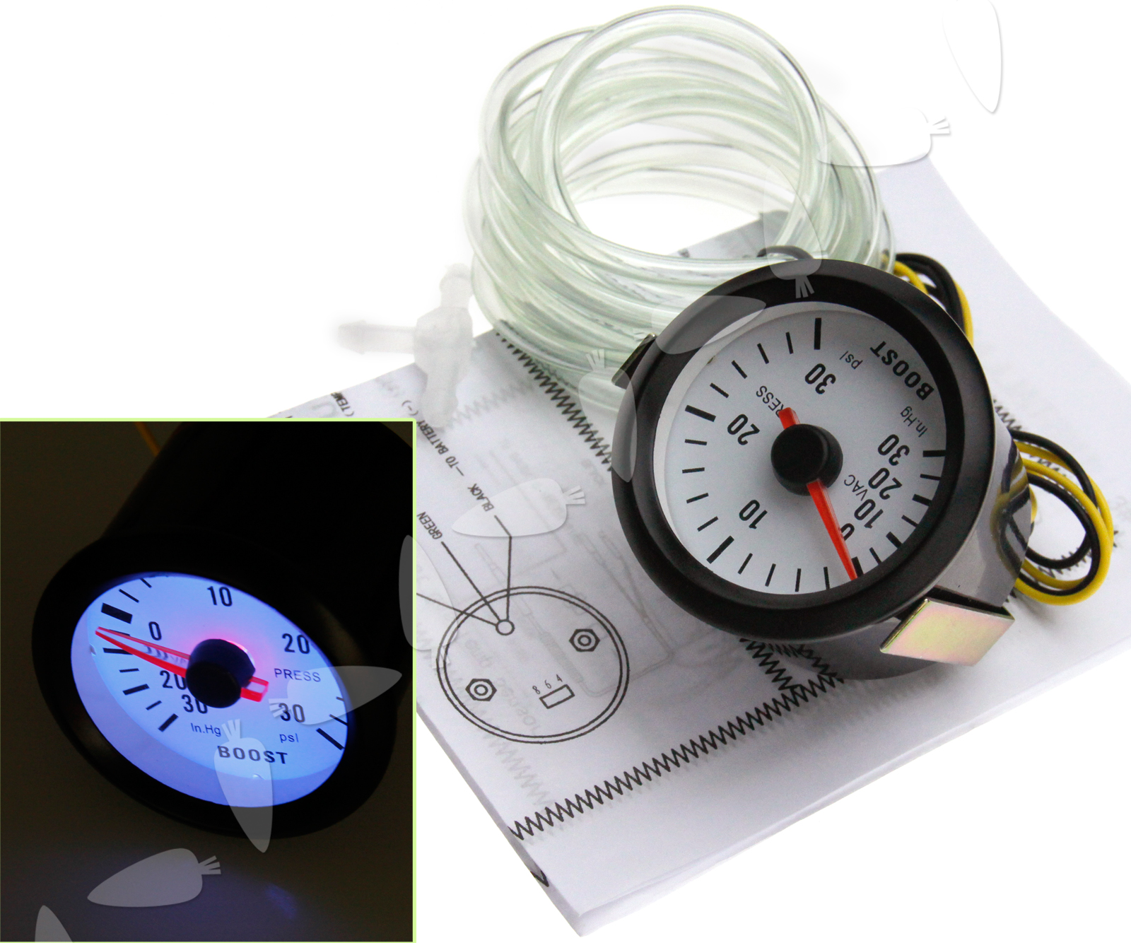Car Turbo Boost Voltage Gauge Meter Led Display Dials Psi