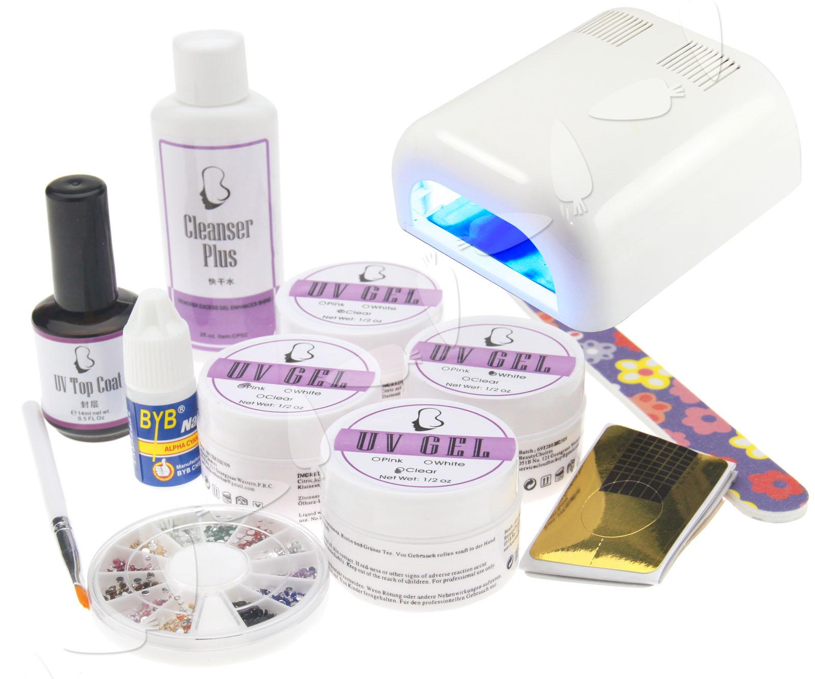 36W UV LIGHT NAIL ART CURING LAMP + UV GEL STARTER KIT