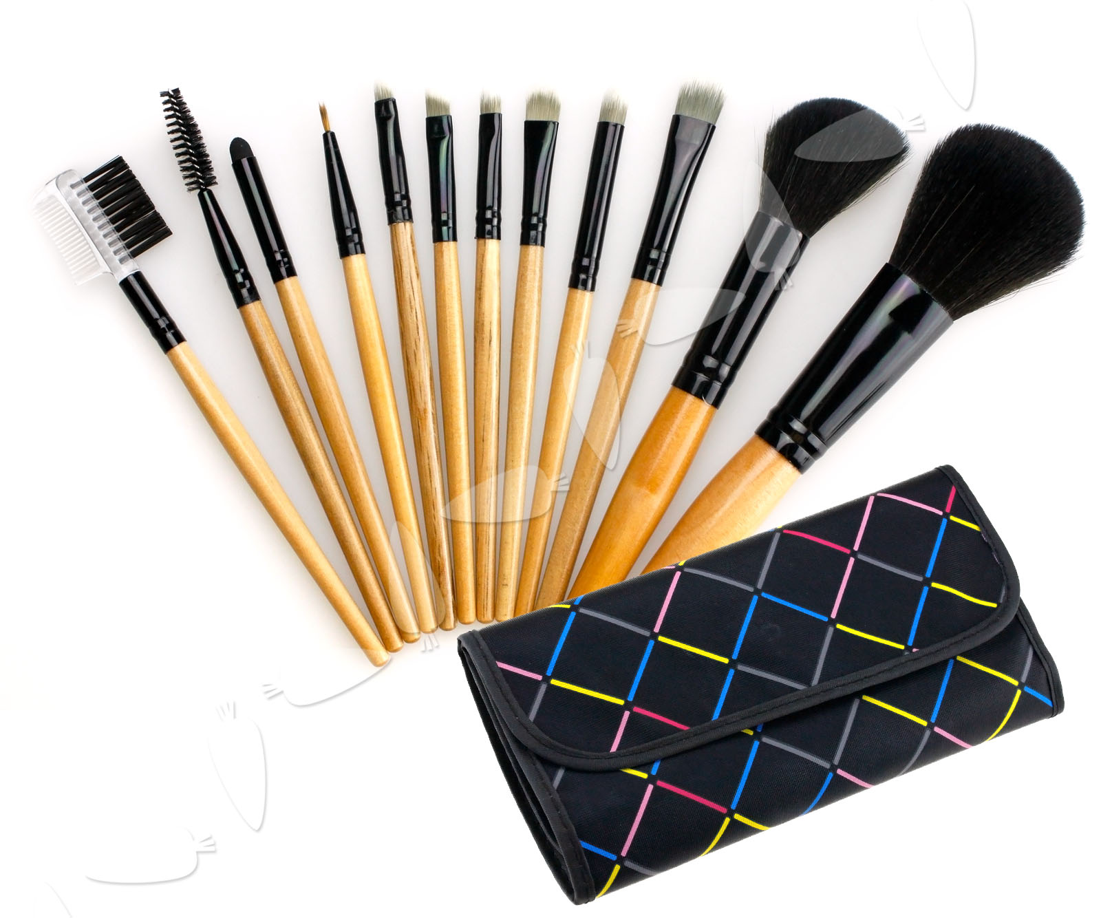 12pcs Cosmetic Make Up Brush kit with bowknot decorated ...