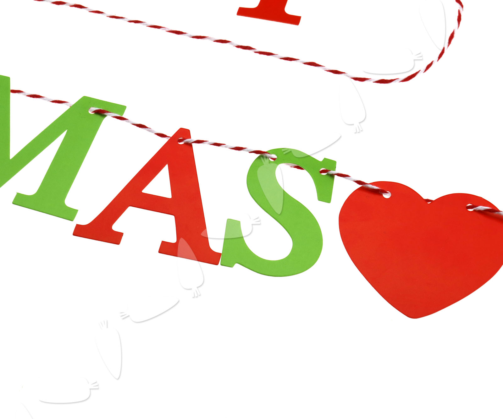 New merry christmas garland xmas sign red hearts bunting
