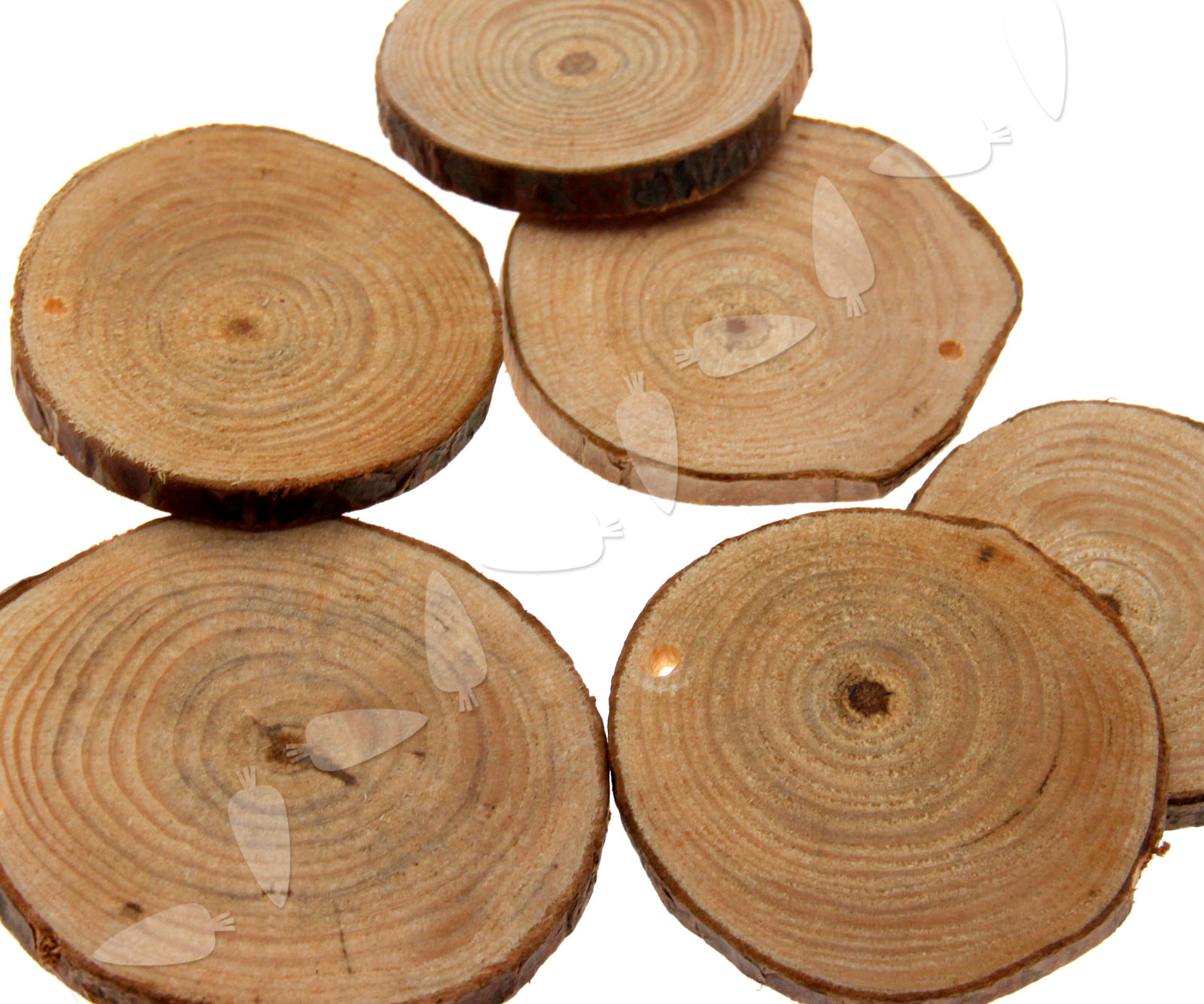 24 x round natural wood discs slices with hole for diy for Wood circles for crafts