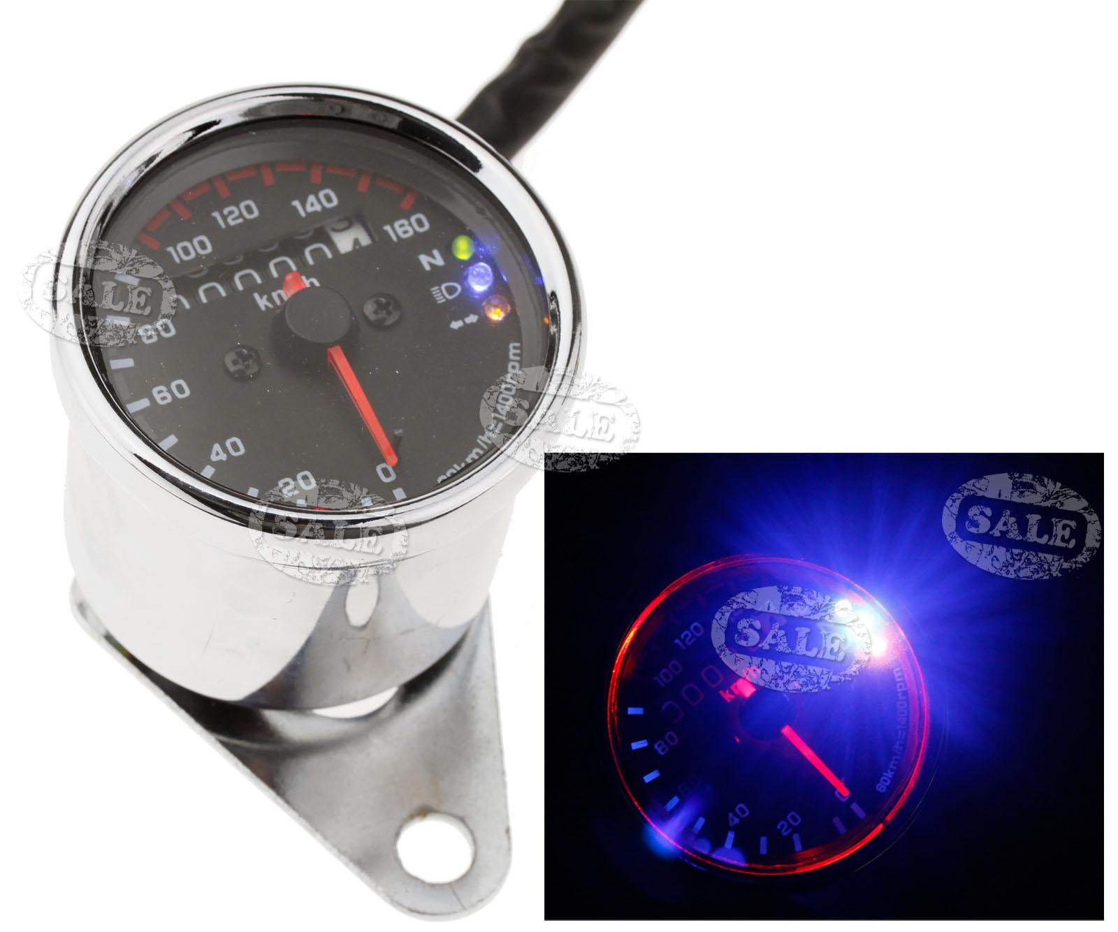 universal 12v motorbike led background light dual odometer speedometer gauge ebay. Black Bedroom Furniture Sets. Home Design Ideas