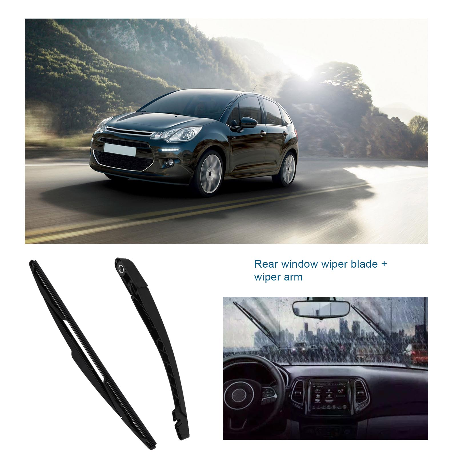 Replacement Wiper Blades : Replacement windscreen rear wiper blade arm set for