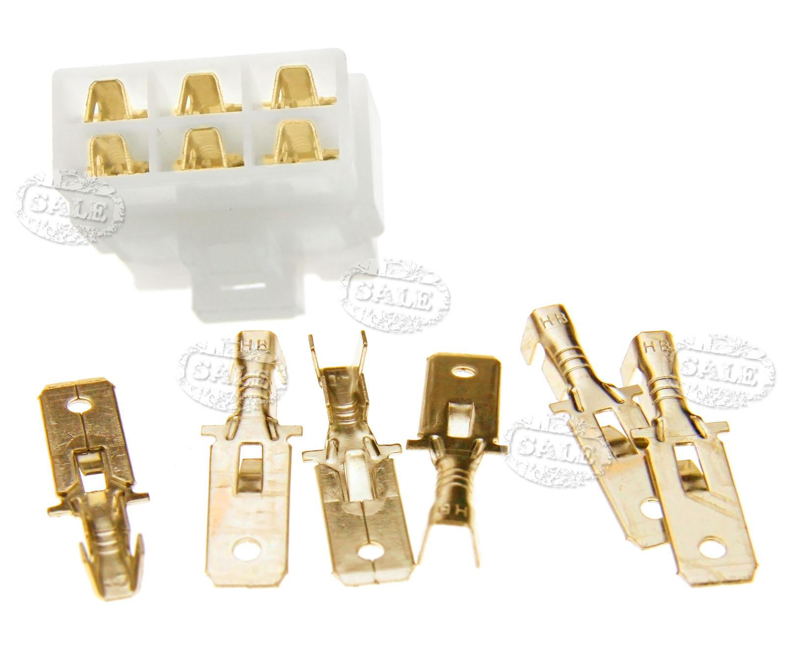 6 Pin Terminal Block Škoda 1j0973713: 10 Sets 6.3MM 6 WAY PIN ELECTRICAL MULTI PLUG CONNECTOR