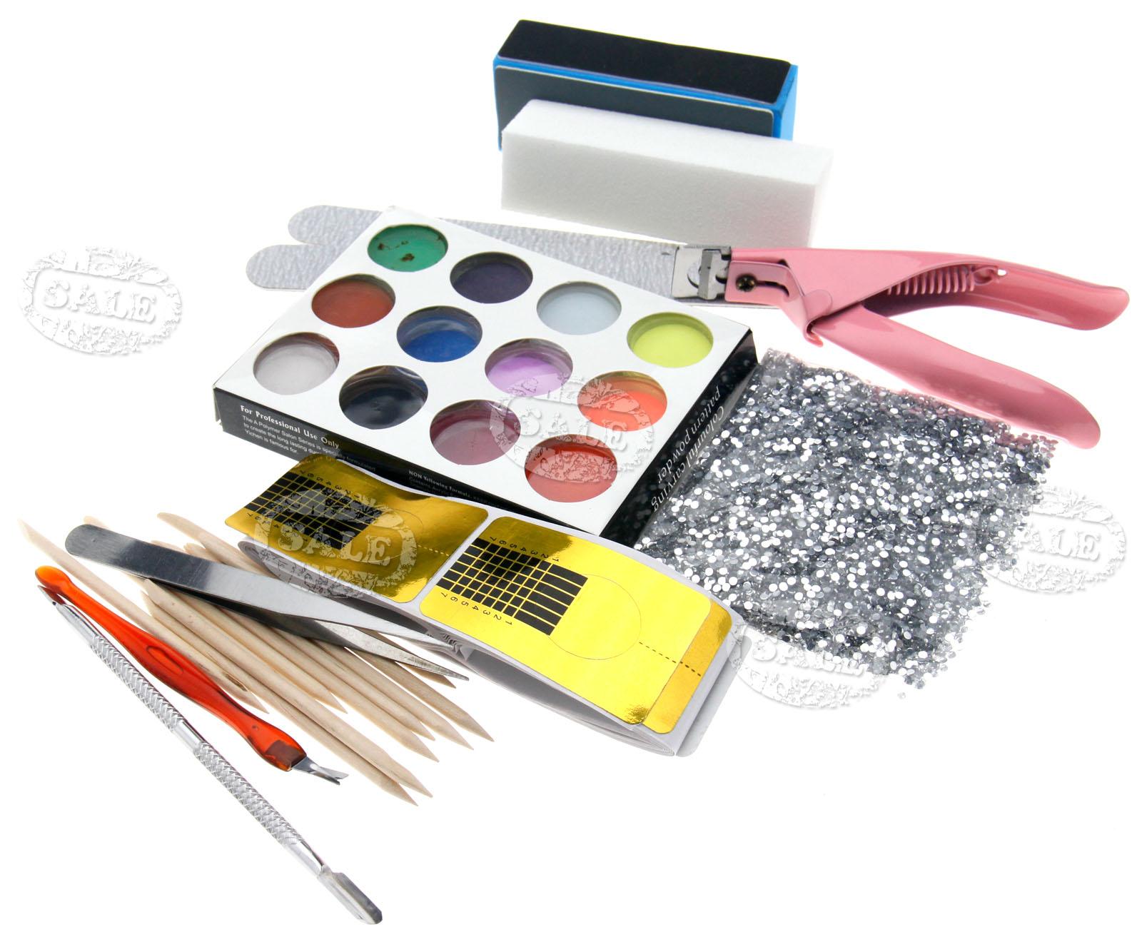 Pro Full Set Combo Acrylic Nail Art Tips Powder Brush
