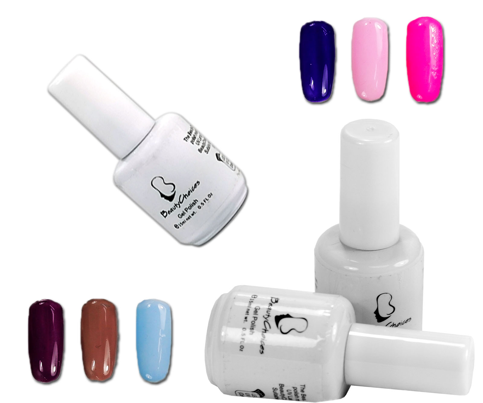 Nail Polish Tips: 12pcs Mix Color Nail Art Tips Soak Off UV Gel Polish W/Top