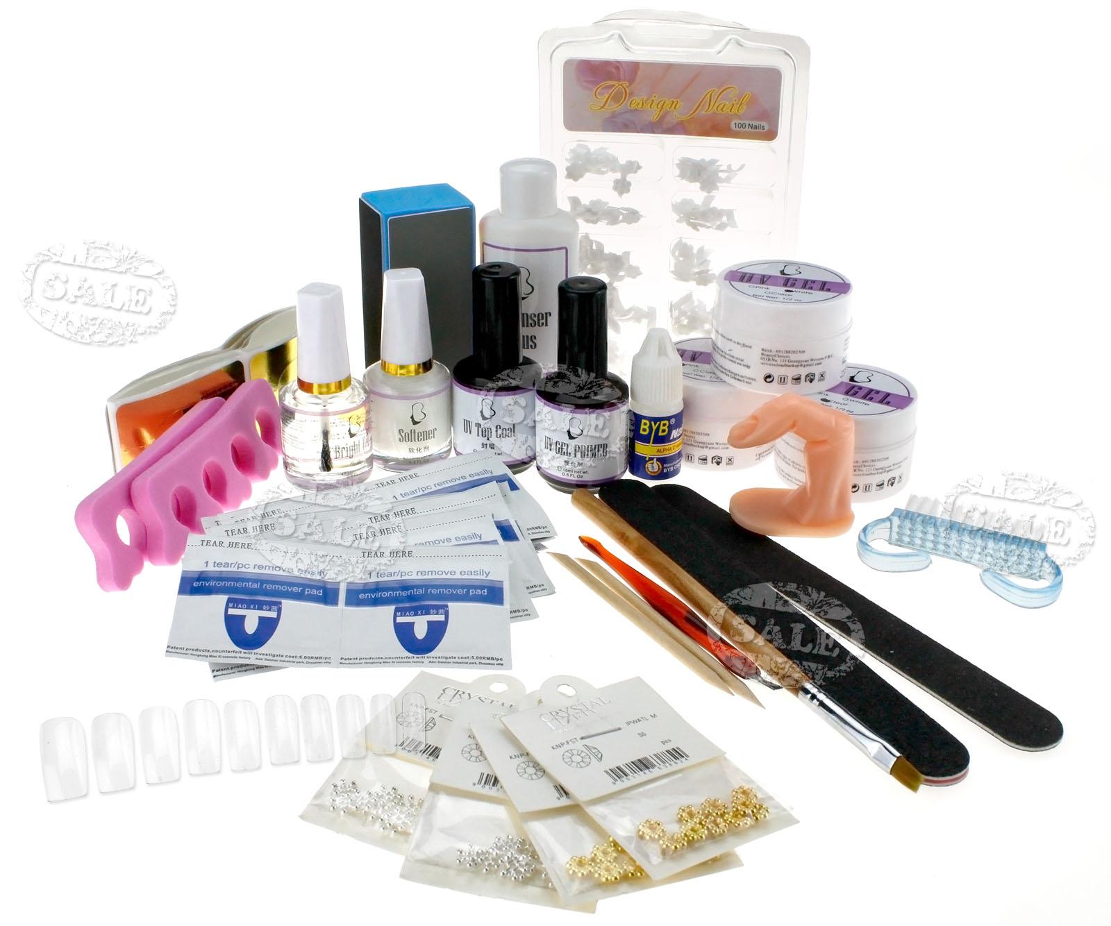 Uv gel base color glitter nail art decoration tool kit for Avon nail decoration brush