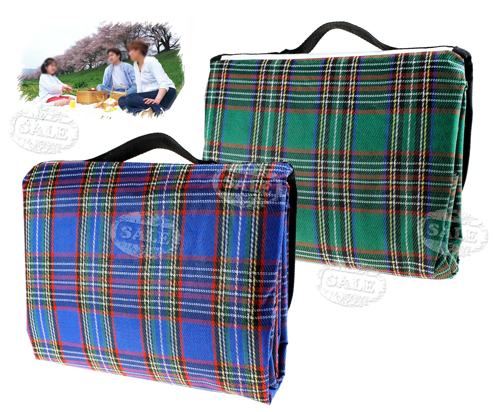 Green blue large 57x76 waterproof picnic blanket camping for Au maison picnic blanket