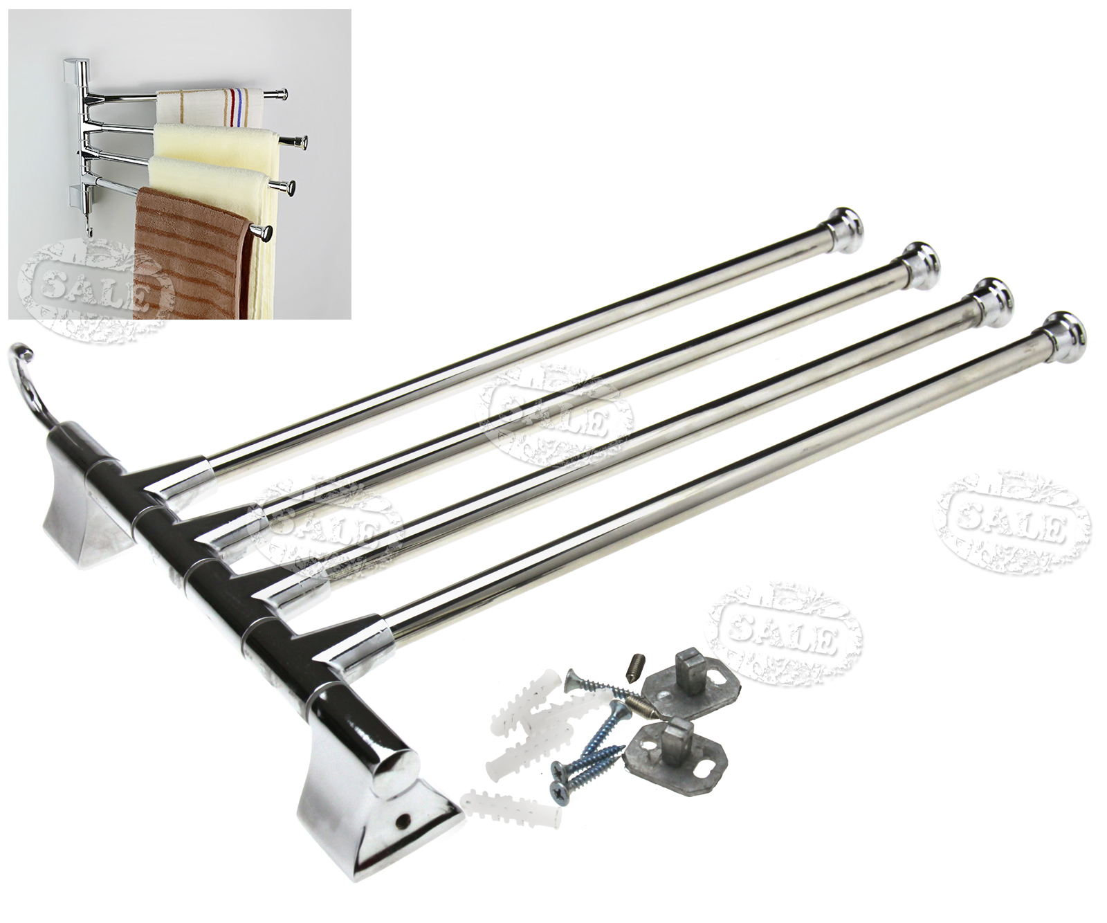 4 Bar Towel Rail Holder Wall Mounted Towel Rack Stainless