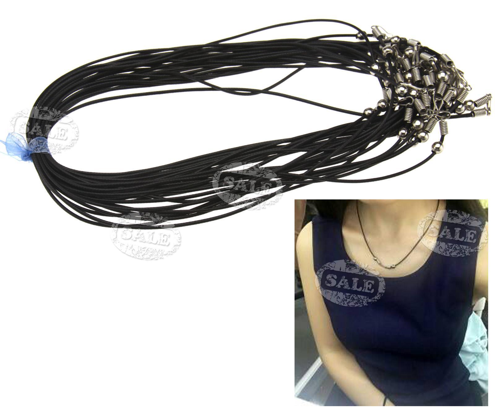 25 x 1 5mm black waxed cotton necklace cords 18 quot wholesale