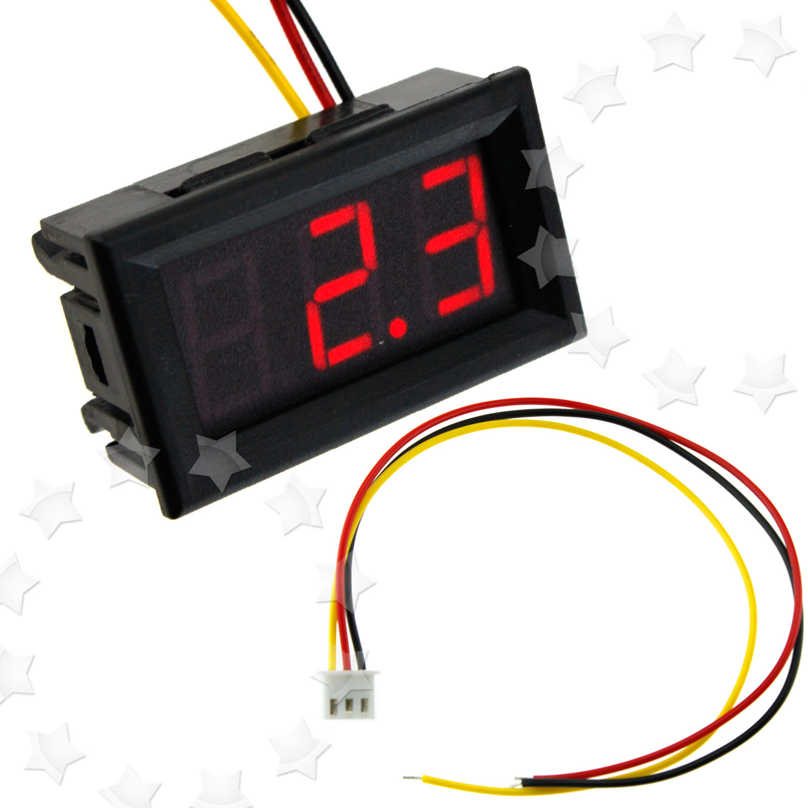 Car Van Motor Volt Meter Voltage Voltmeter 3 Wire Red