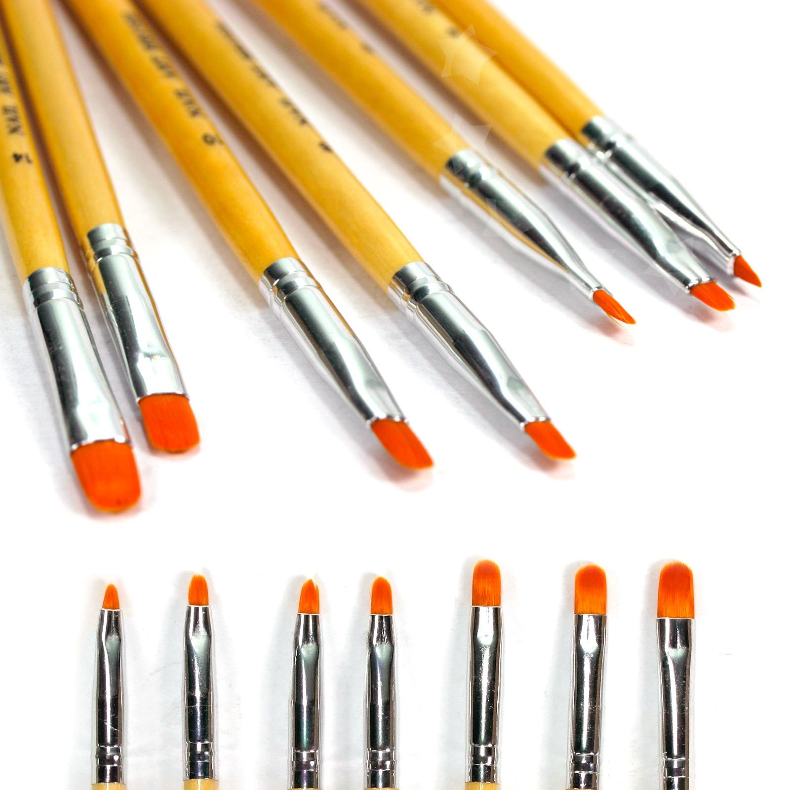 Brush On Nail Gel: 7pcs Nail Art Brush Pen Set UV Gel Polish Painting Design