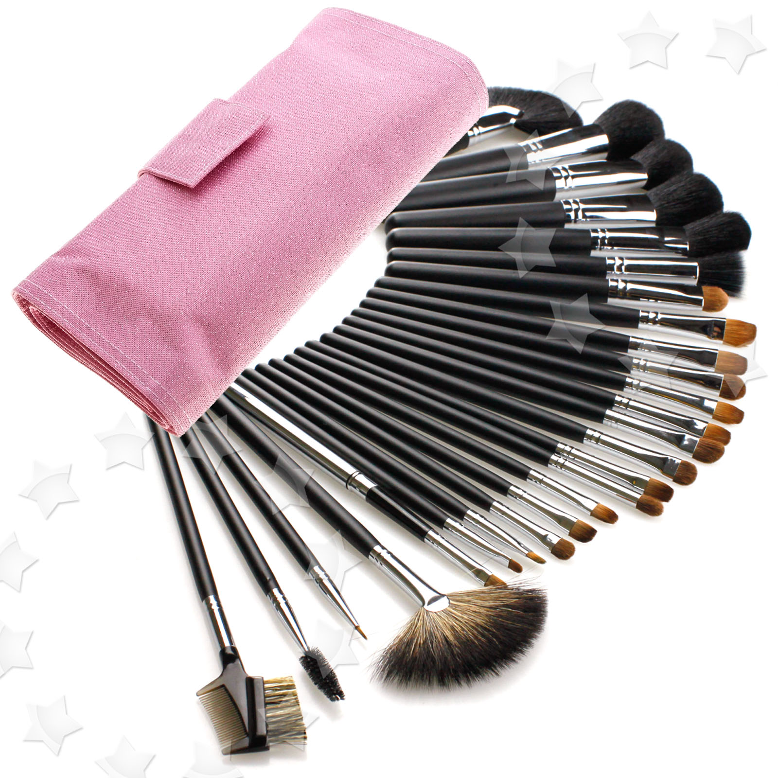 26pcs Cosmetic Make Up Brush kit with Pink bag Goat ...