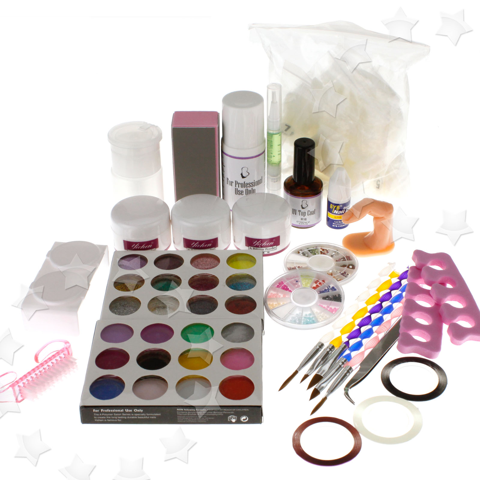 Pro nail art acrylic nail kit w powders brushes for Avon nail decoration brush