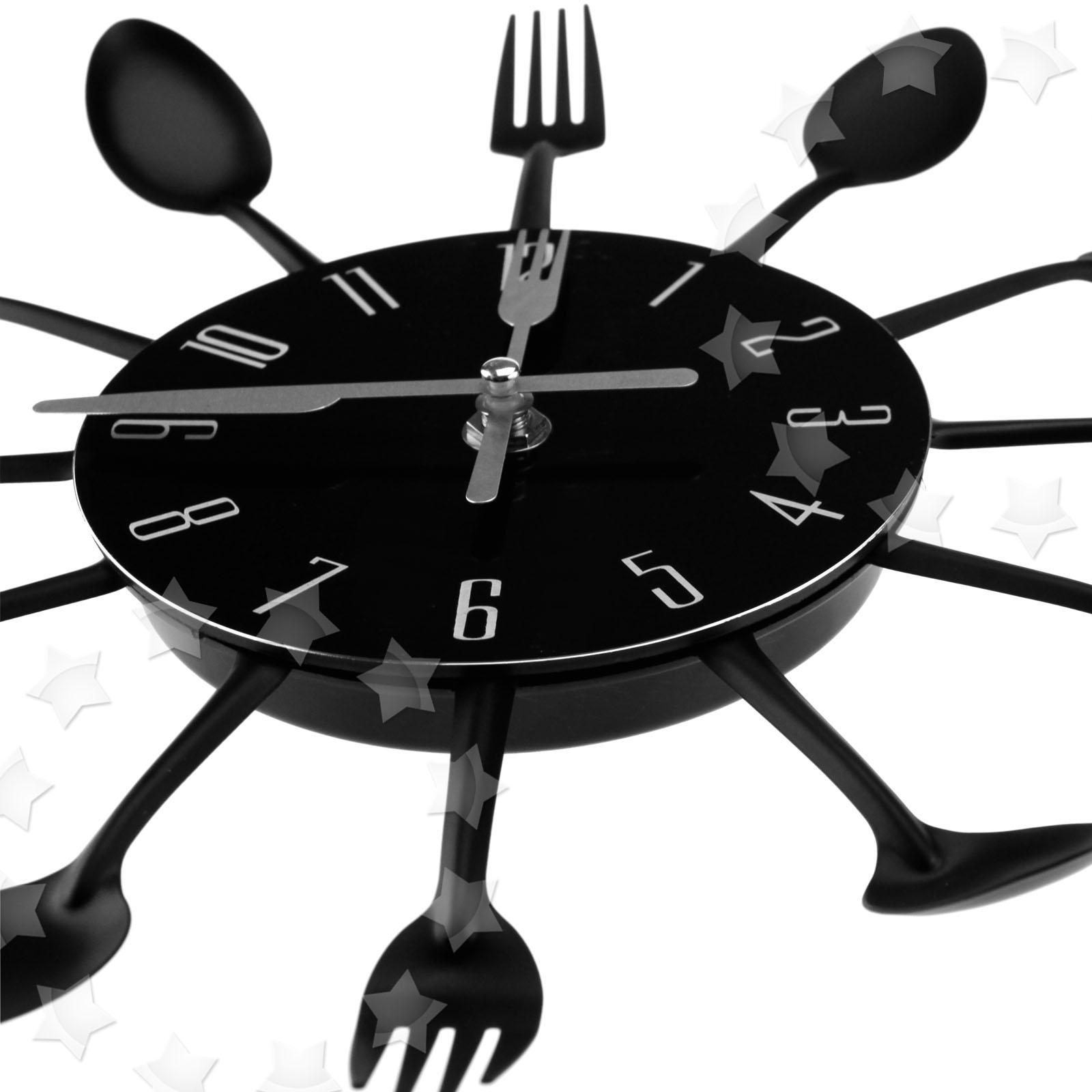 Kitchen Wall Clocks Modern Modern Design Sliver Black Cutlery Kitchen Wall Clock Spoon Fork