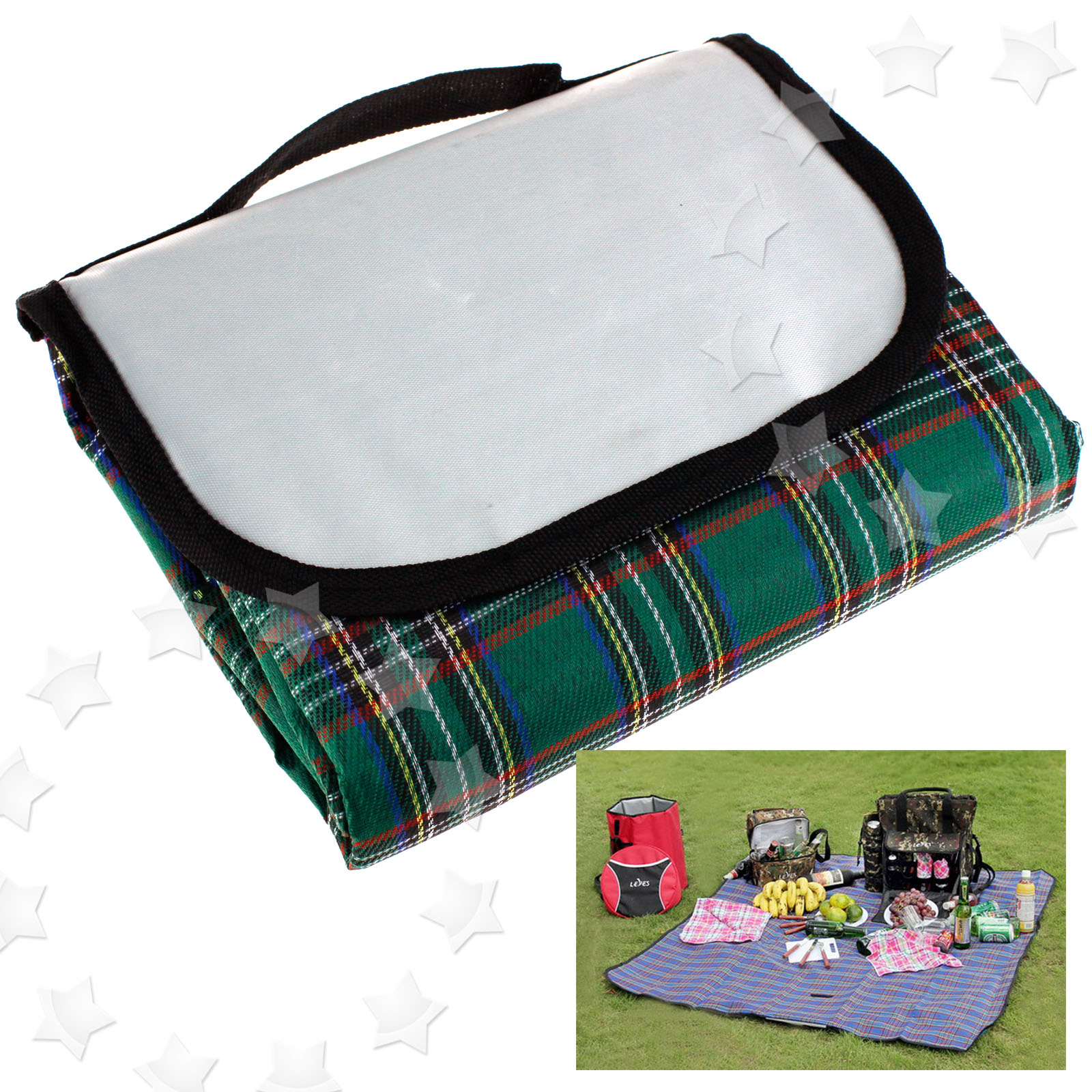 Outdoor green blue 57x76 waterproof picnic blanket rug for Au maison picnic blanket